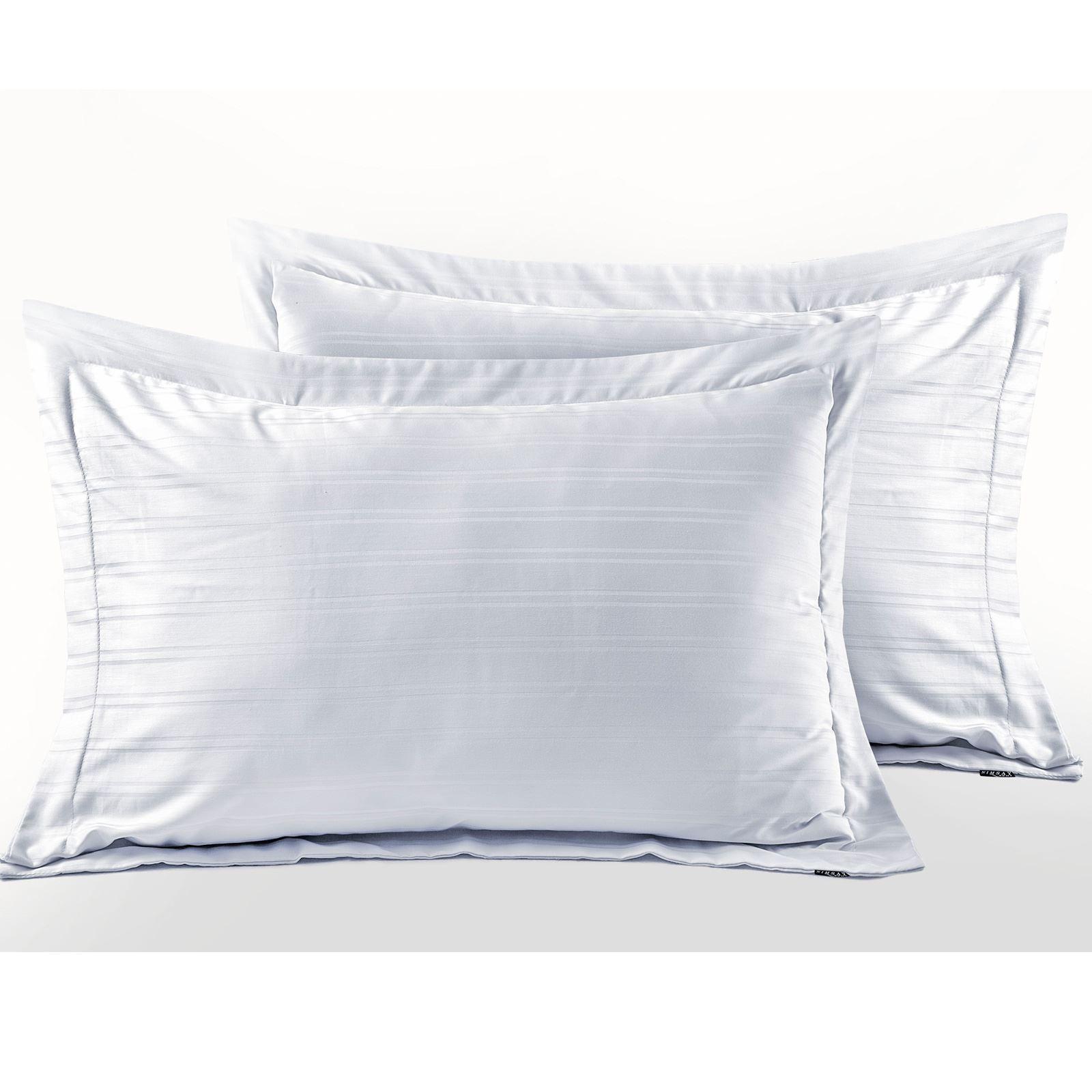 Hotel-Quality-400-Thread-100-Cotton-Satin-Sateen-Stripe-Duvet-Cover-Bedding-Set thumbnail 9