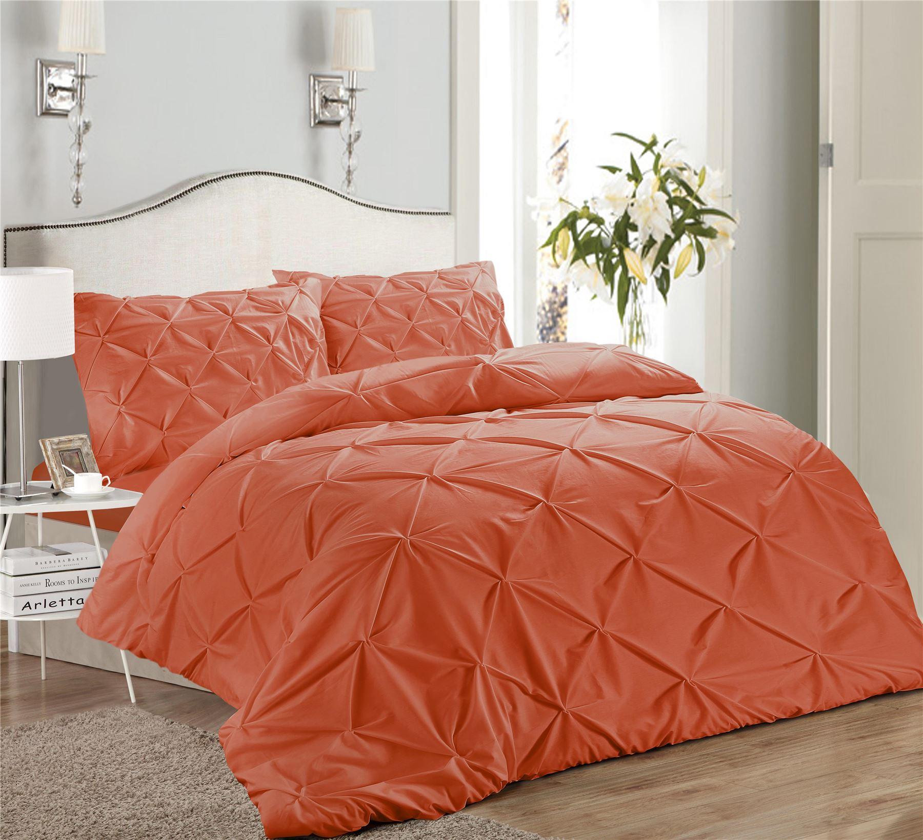 Luxury-Pure-100-Cotton-200-Thread-Pinch-Pleat-Pintuck-Puckering-Duvet-Cover-Set thumbnail 25