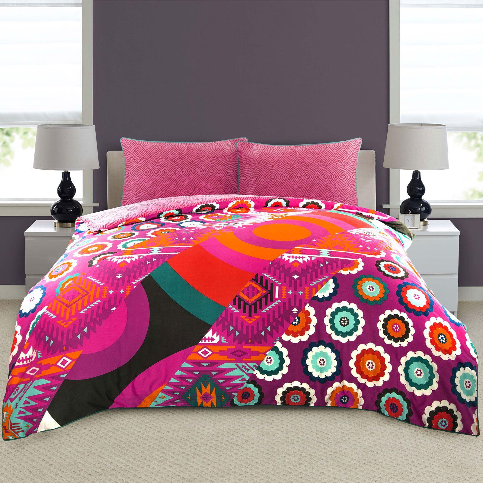 Ropa-de-cama-estampado-floral-bohemio-conjunto-de-edredon-de-funda-nordica-individual-Doble-King miniatura 5