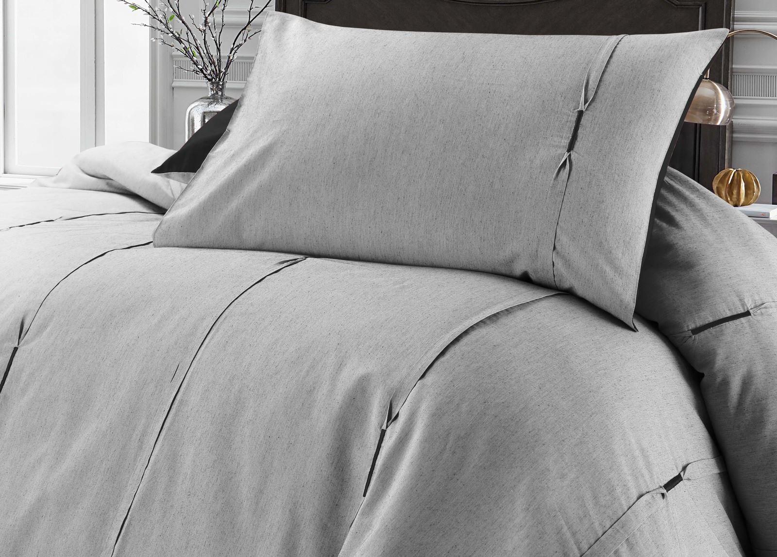 Luxe-Lambert-vertical-Pintuck-plissee-Soft-Couette-Parure-De-Lit-Gris-amp-Noir miniature 6