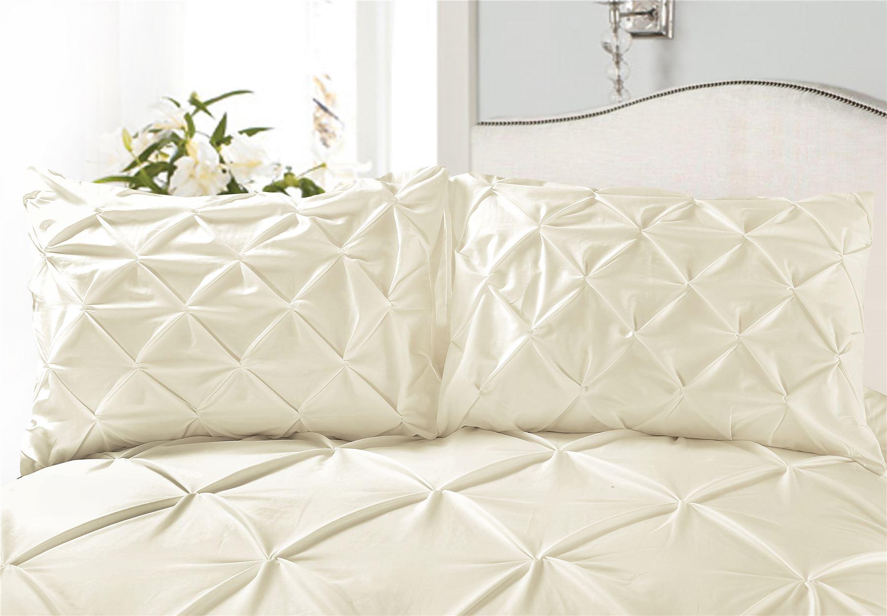 Luxury-Pure-100-Cotton-200-Thread-Pinch-Pleat-Pintuck-Puckering-Duvet-Cover-Set thumbnail 9