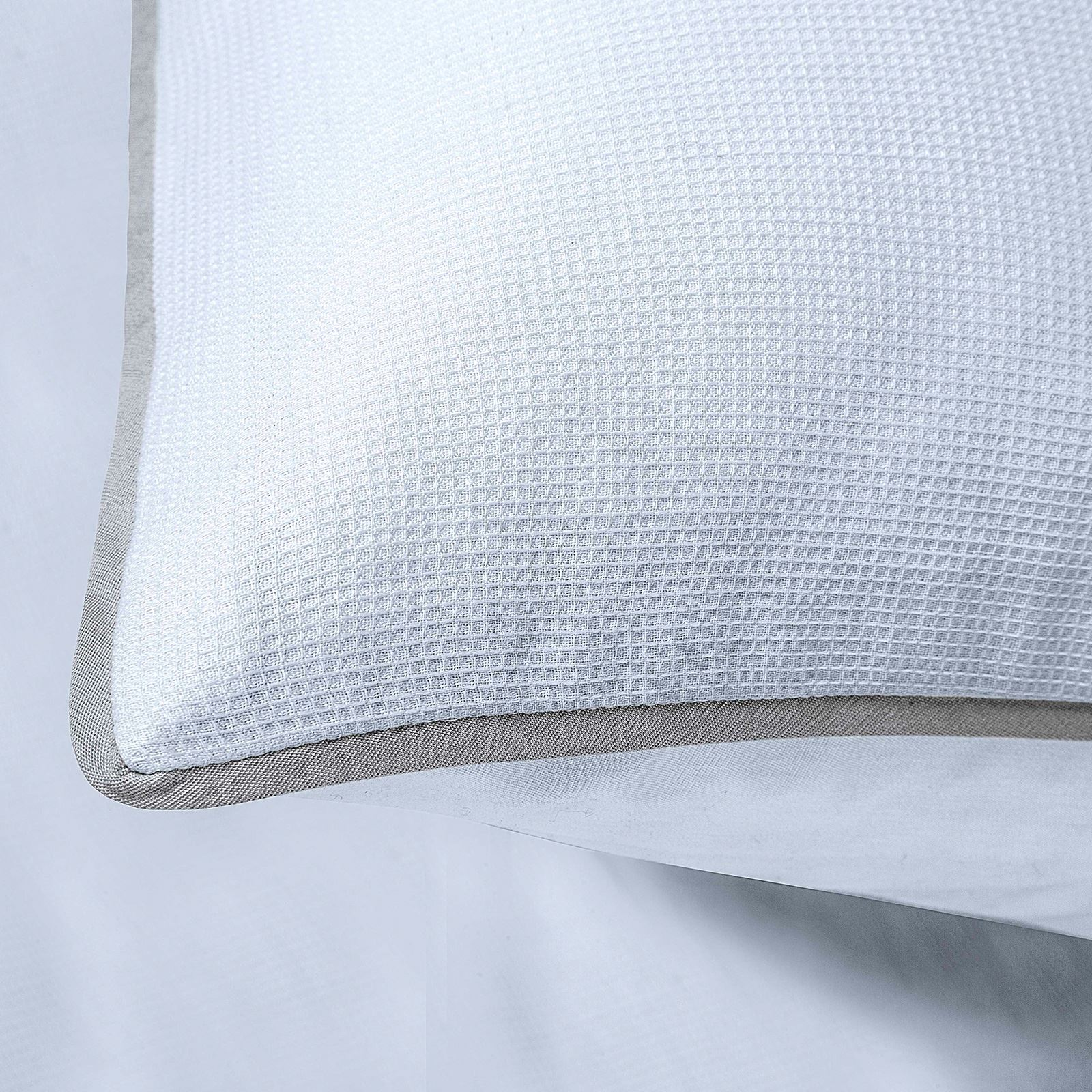 Luxury-200-Thread-Woven-Waffle-Checked-100-Cotton-Quilt-Duvet-Cover-Set-White thumbnail 3