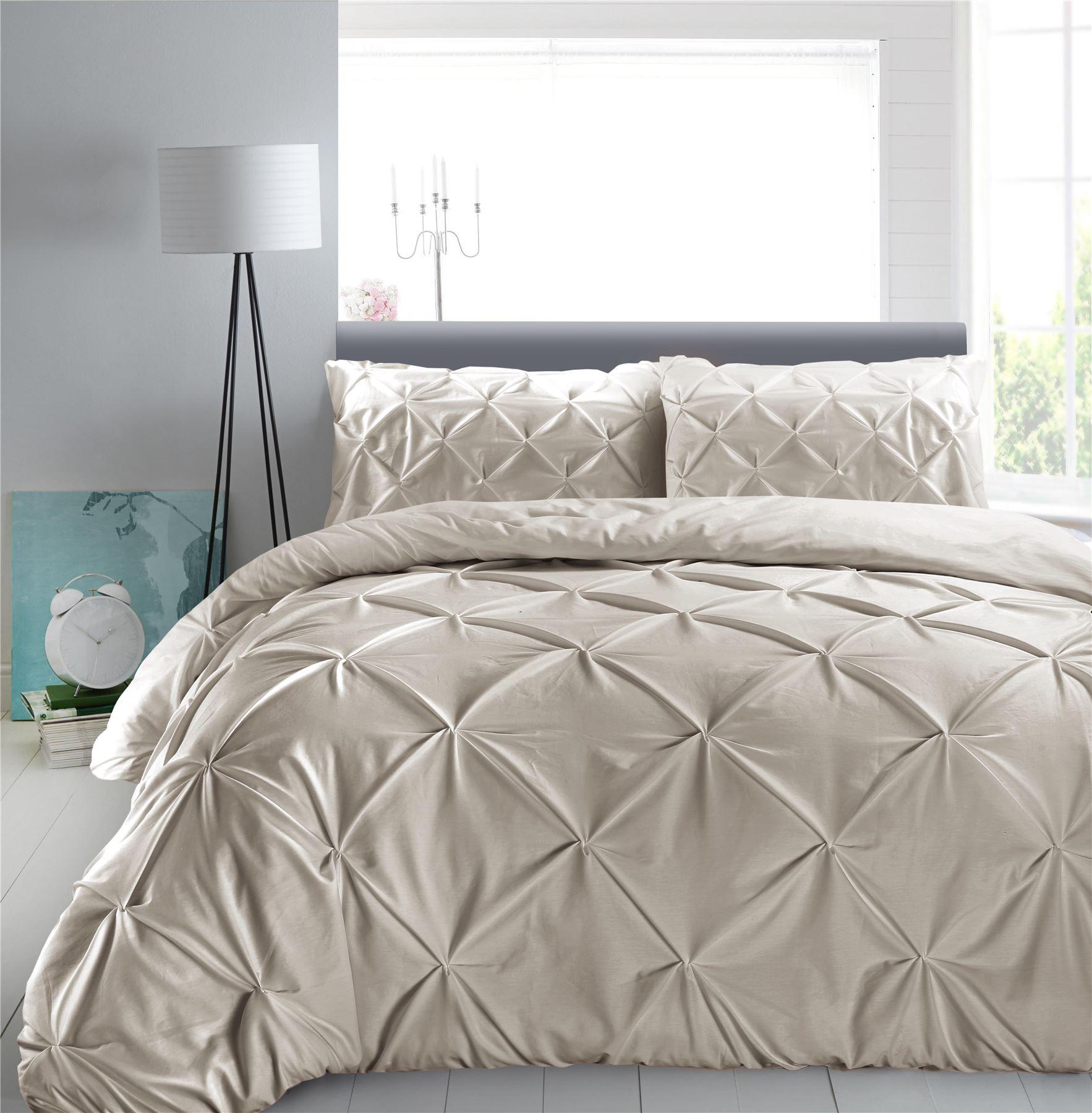 Luxury-Pure-100-Cotton-200-Thread-Pinch-Pleat-Pintuck-Puckering-Duvet-Cover-Set thumbnail 57