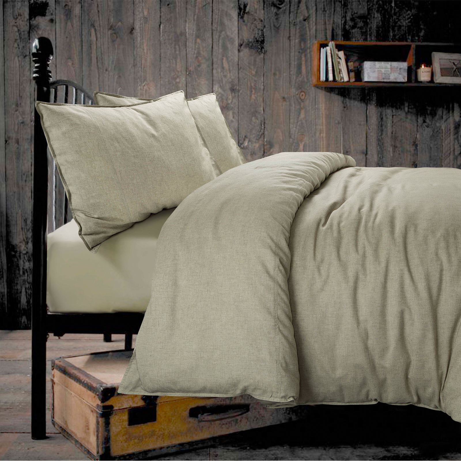 100-coton-lin-naturel-pur-Housse-Couette-Ensemble-De-Literie-double-King miniature 24