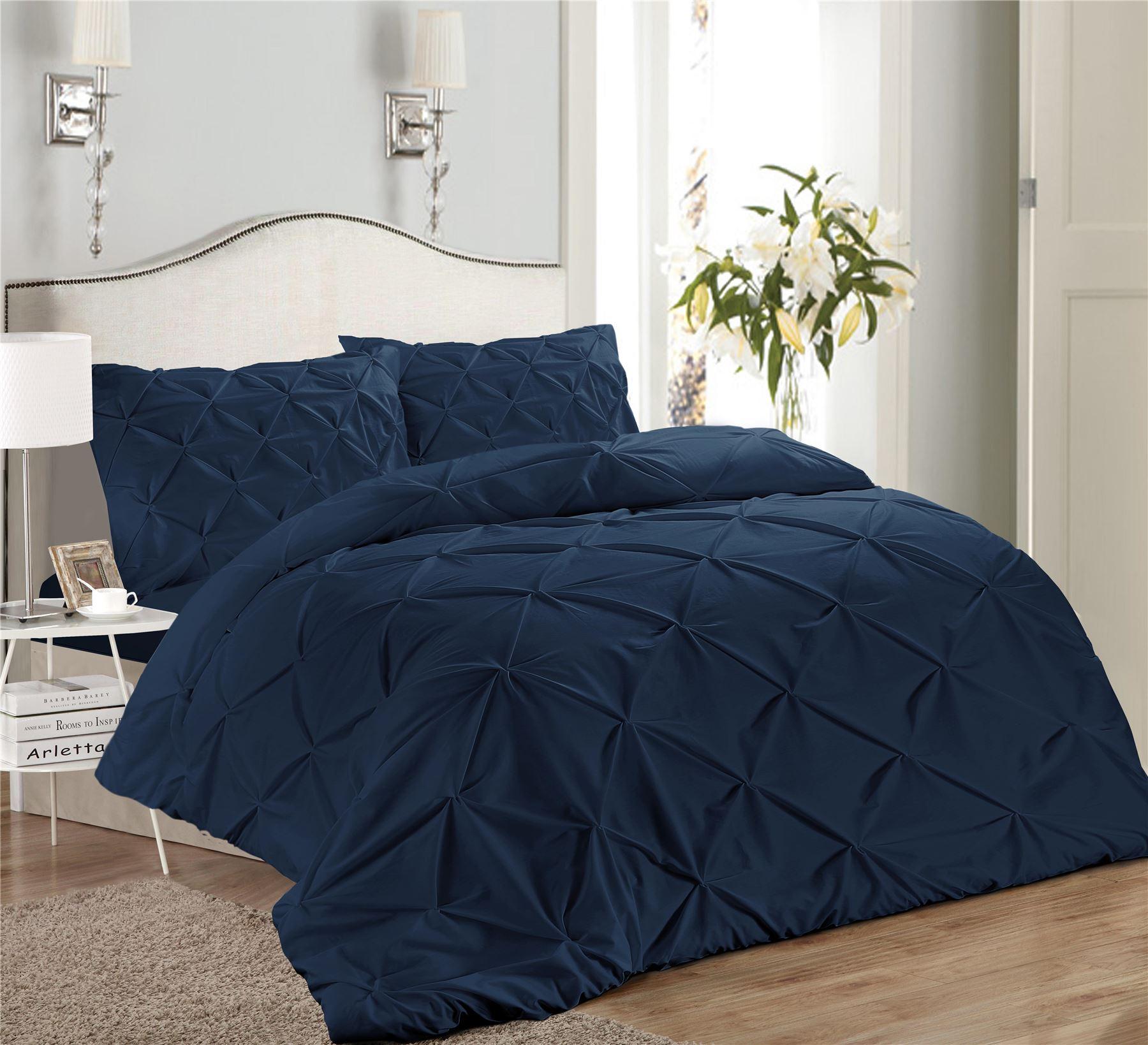 Luxury-Pure-100-Cotton-200-Thread-Pinch-Pleat-Pintuck-Puckering-Duvet-Cover-Set thumbnail 20