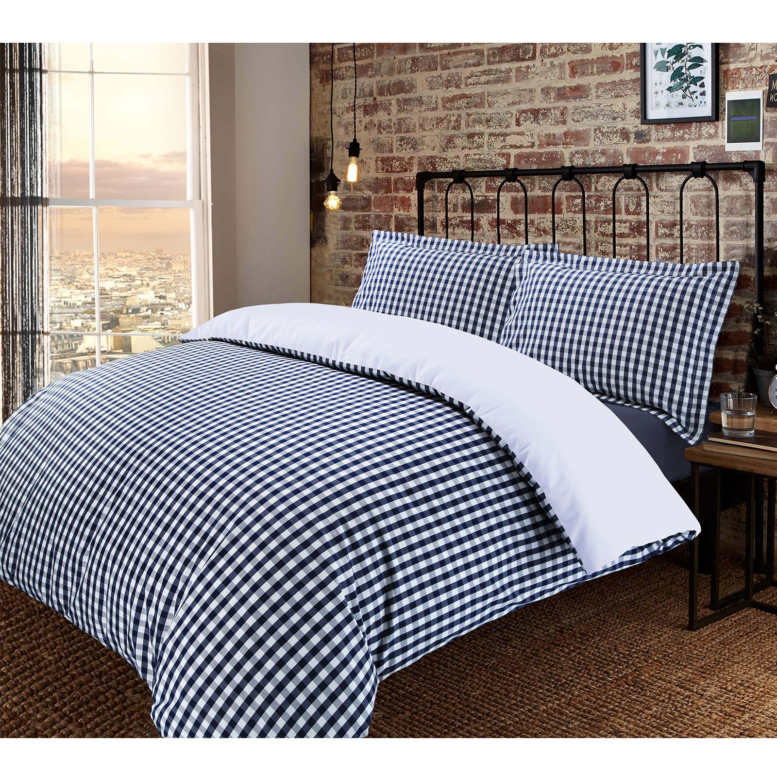 De-Lujo-Gingham-Check-Reversible-100-algodon-T200-conjunto-de-edredon-cubierta-y-fundas-de-almohada miniatura 5