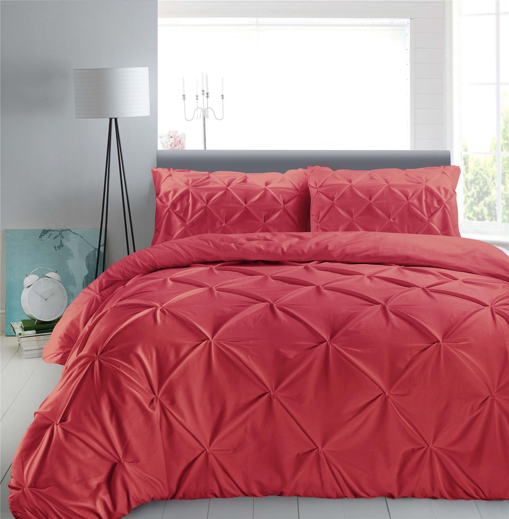 Luxury-Pure-100-Cotton-200-Thread-Pinch-Pleat-Pintuck-Puckering-Duvet-Cover-Set thumbnail 42
