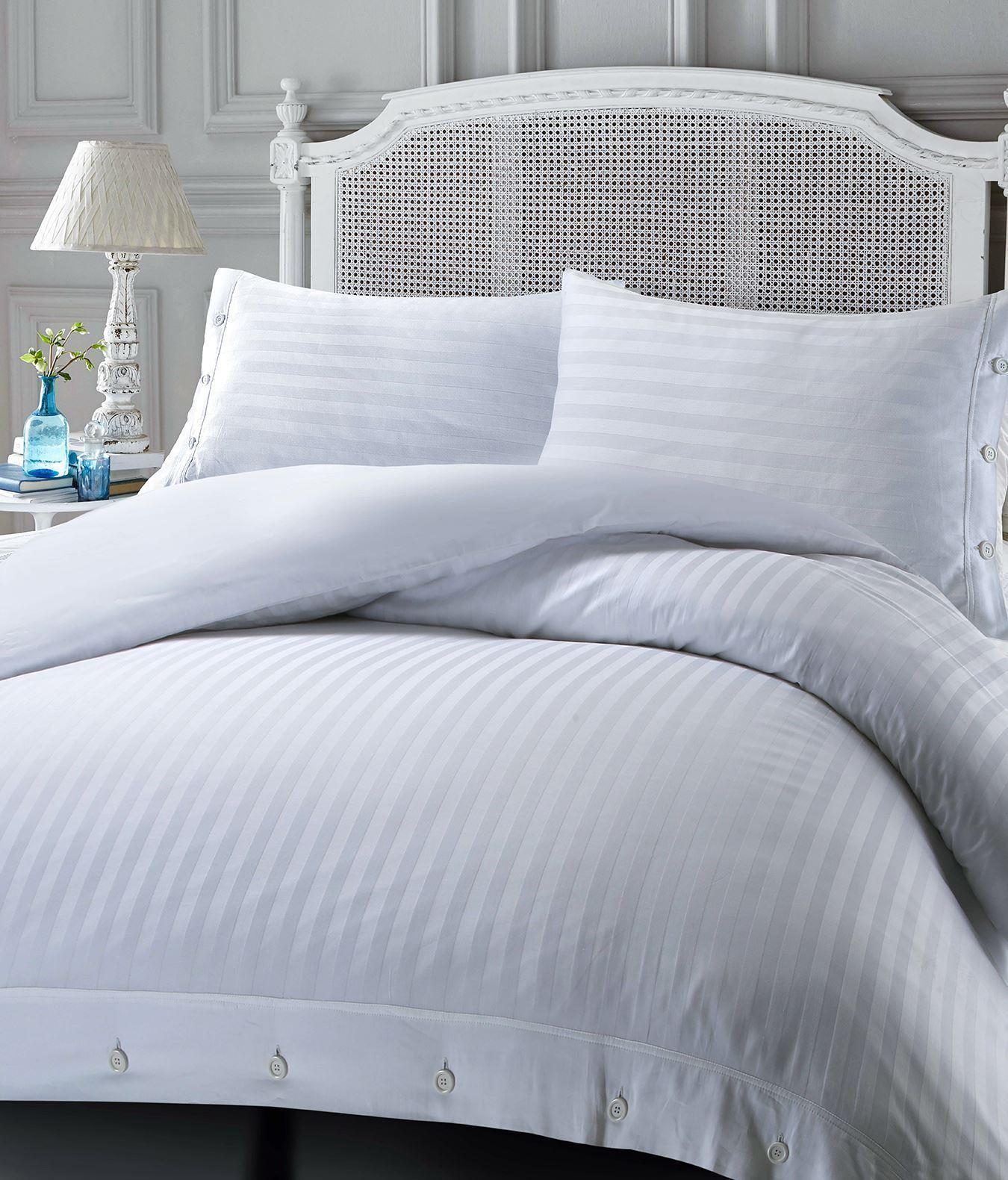 100/% algodón egipcio de lujo Hotel Calidad Satinado Rayas Funda De Edredón