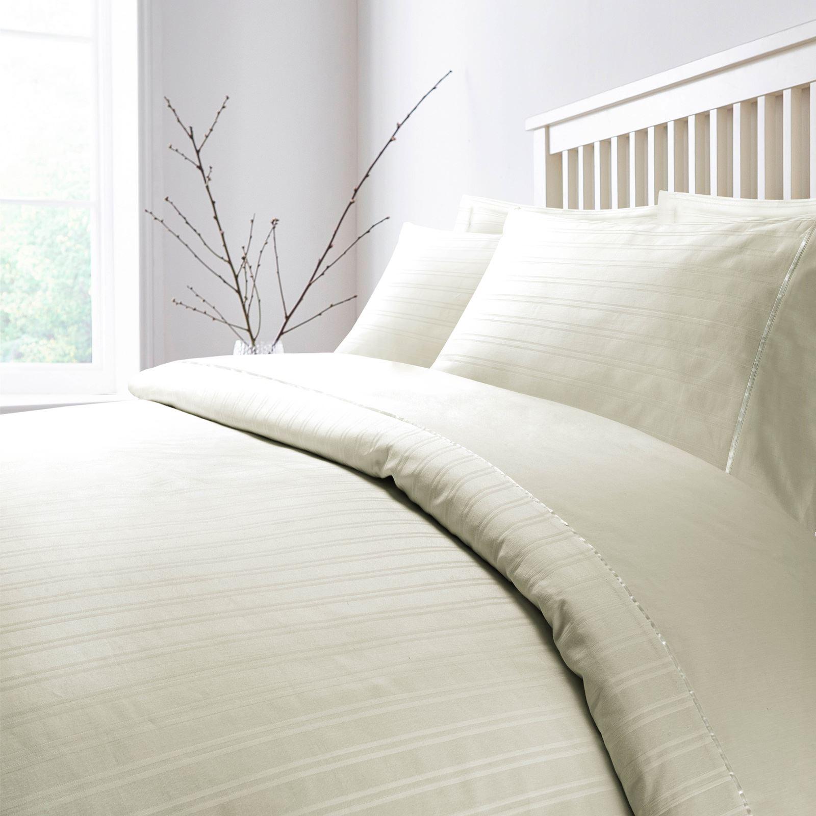 Hotel-Quality-400-Thread-100-Cotton-Satin-Sateen-Stripe-Duvet-Cover-Bedding-Set thumbnail 4