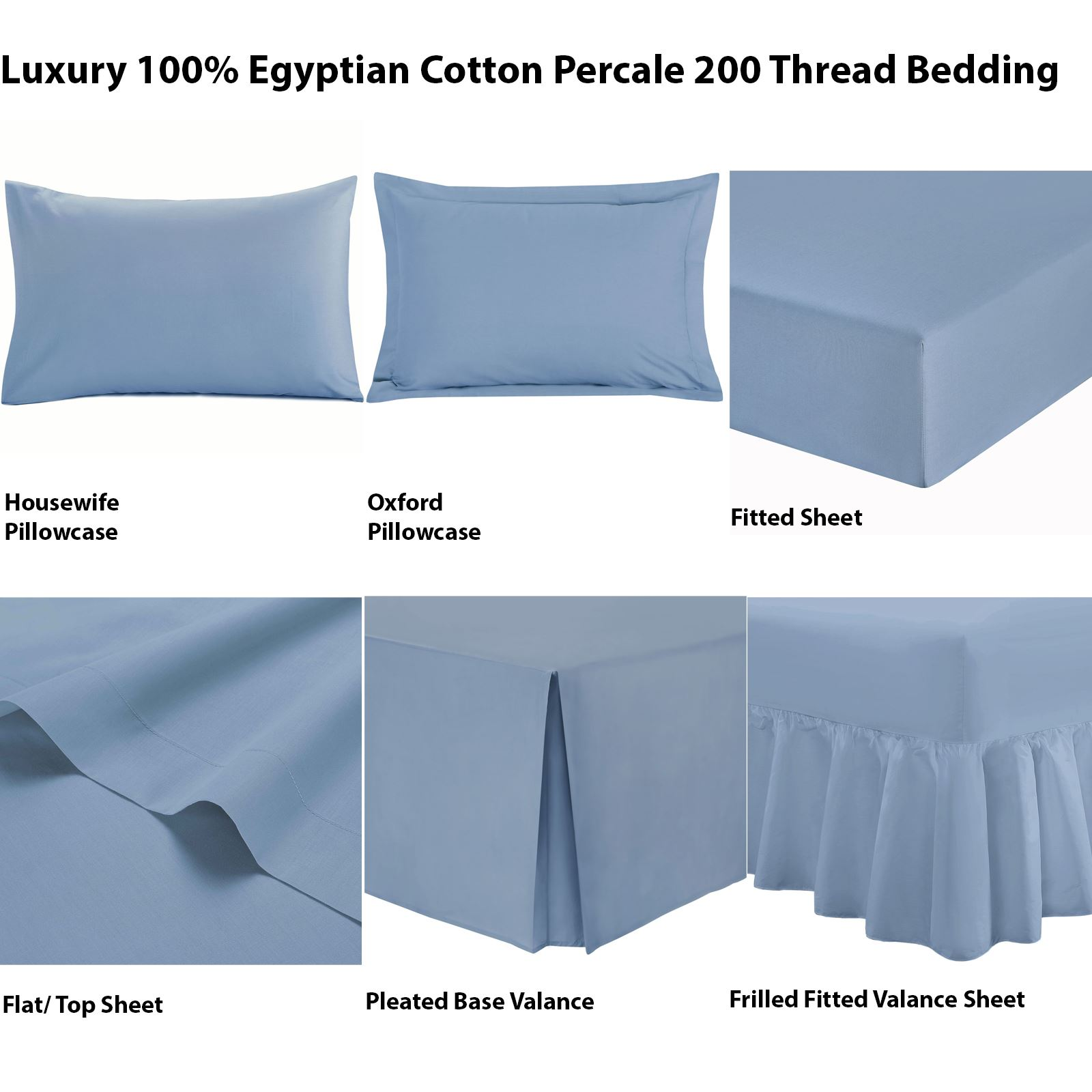 LUXURY PERCALE QUALITY FLAT FITTED /& VALANCE Bedding Sheet Single Double /& King