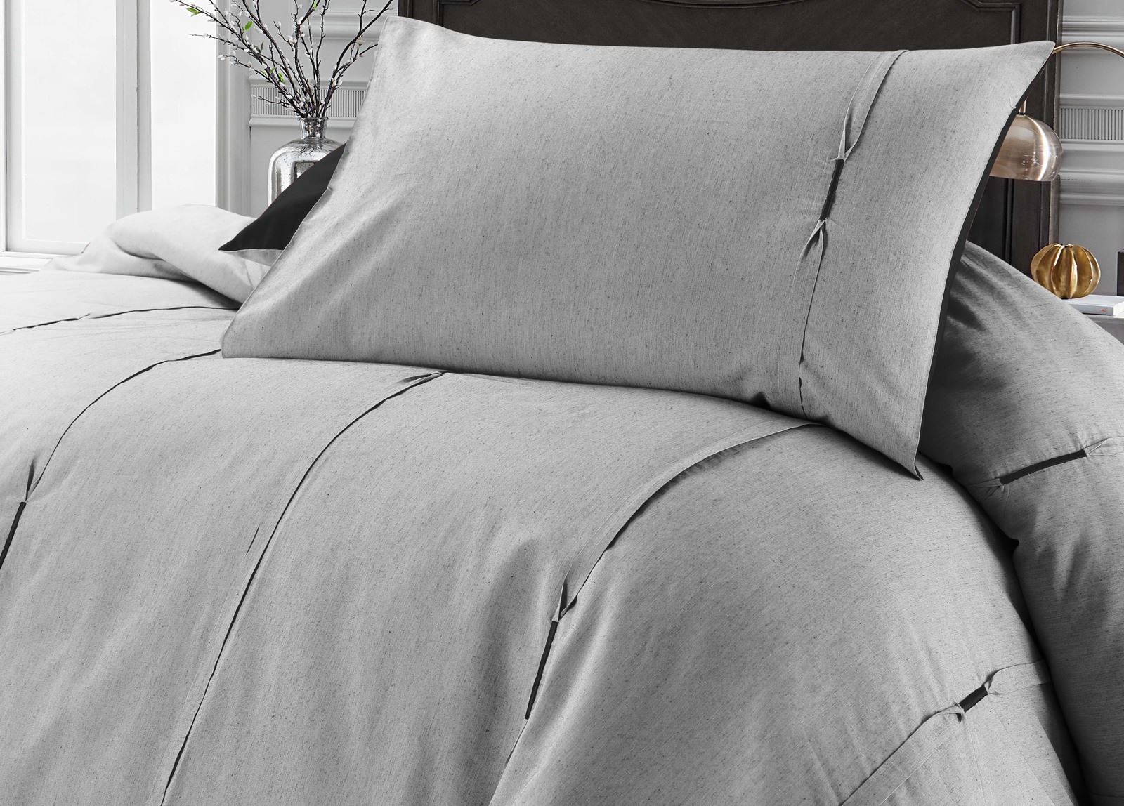 Luxury-Embellished-Duvet-Cover-Set-Single-Double-Super-King-Size-Bedding-Grey thumbnail 4
