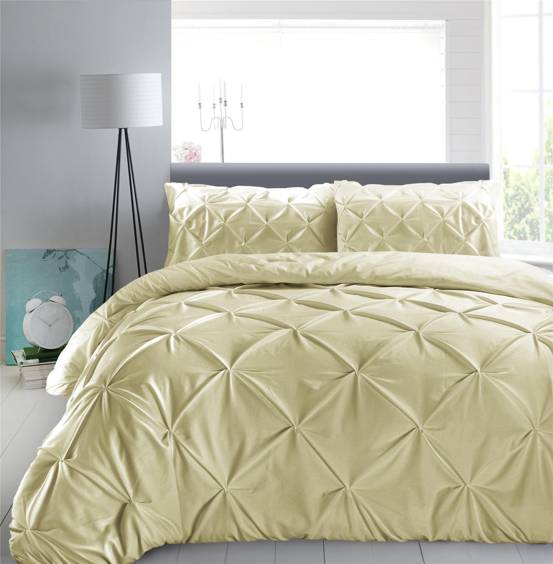 Luxury-Pure-100-Cotton-200-Thread-Pinch-Pleat-Pintuck-Puckering-Duvet-Cover-Set thumbnail 52