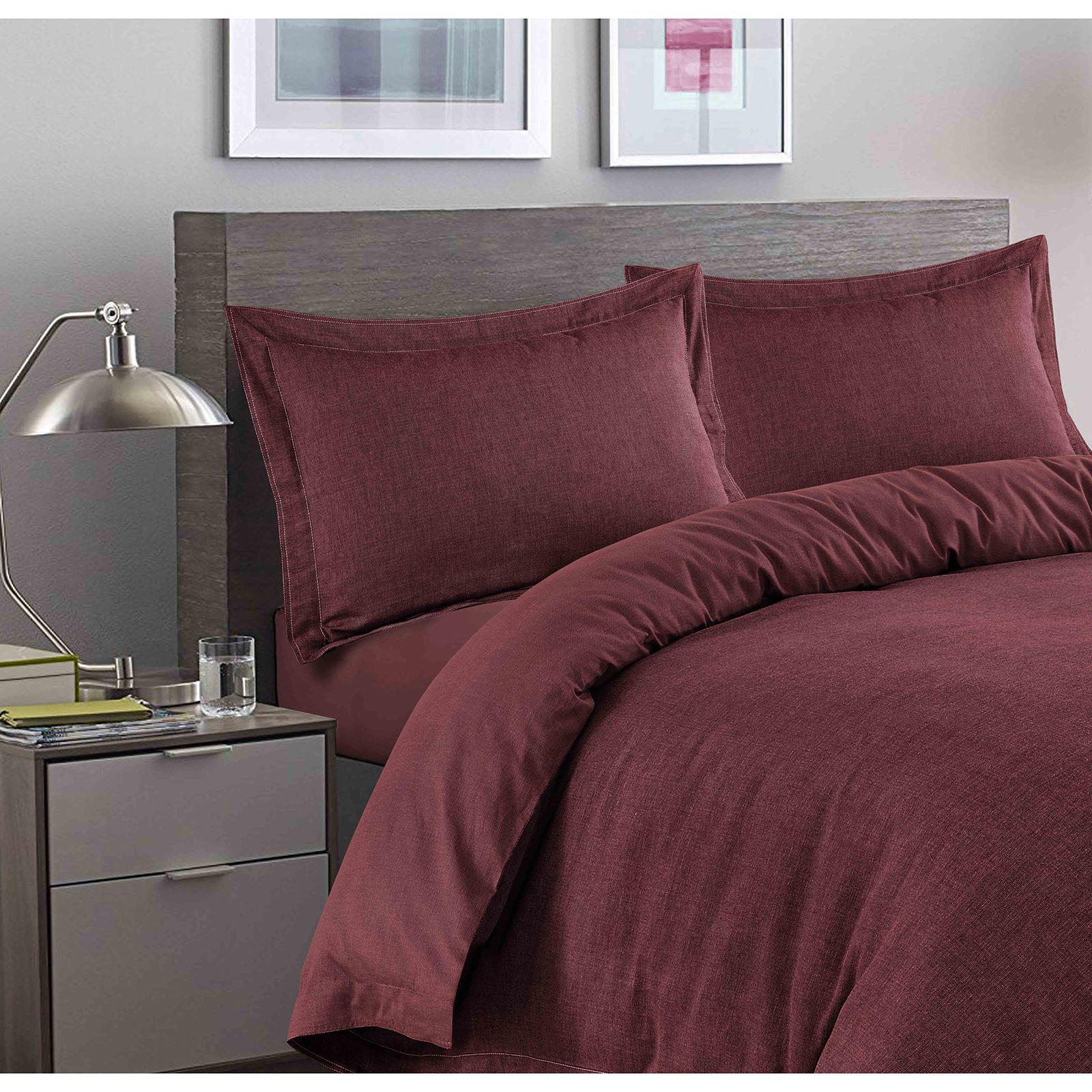 Luxury-Herringbone-Woven-100-Cotton-Duvet-Cover-Bedding-Set-Single-Double-King thumbnail 6