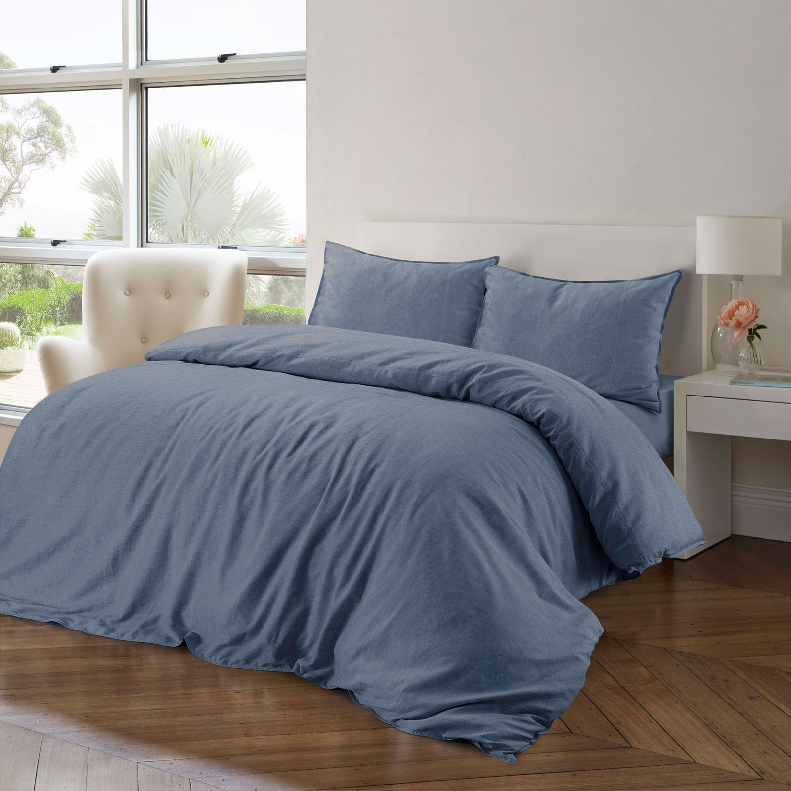 100-Cotton-Linen-Pure-Natural-Duvet-Cover-Bedding-Set-Double-King-Single thumbnail 13