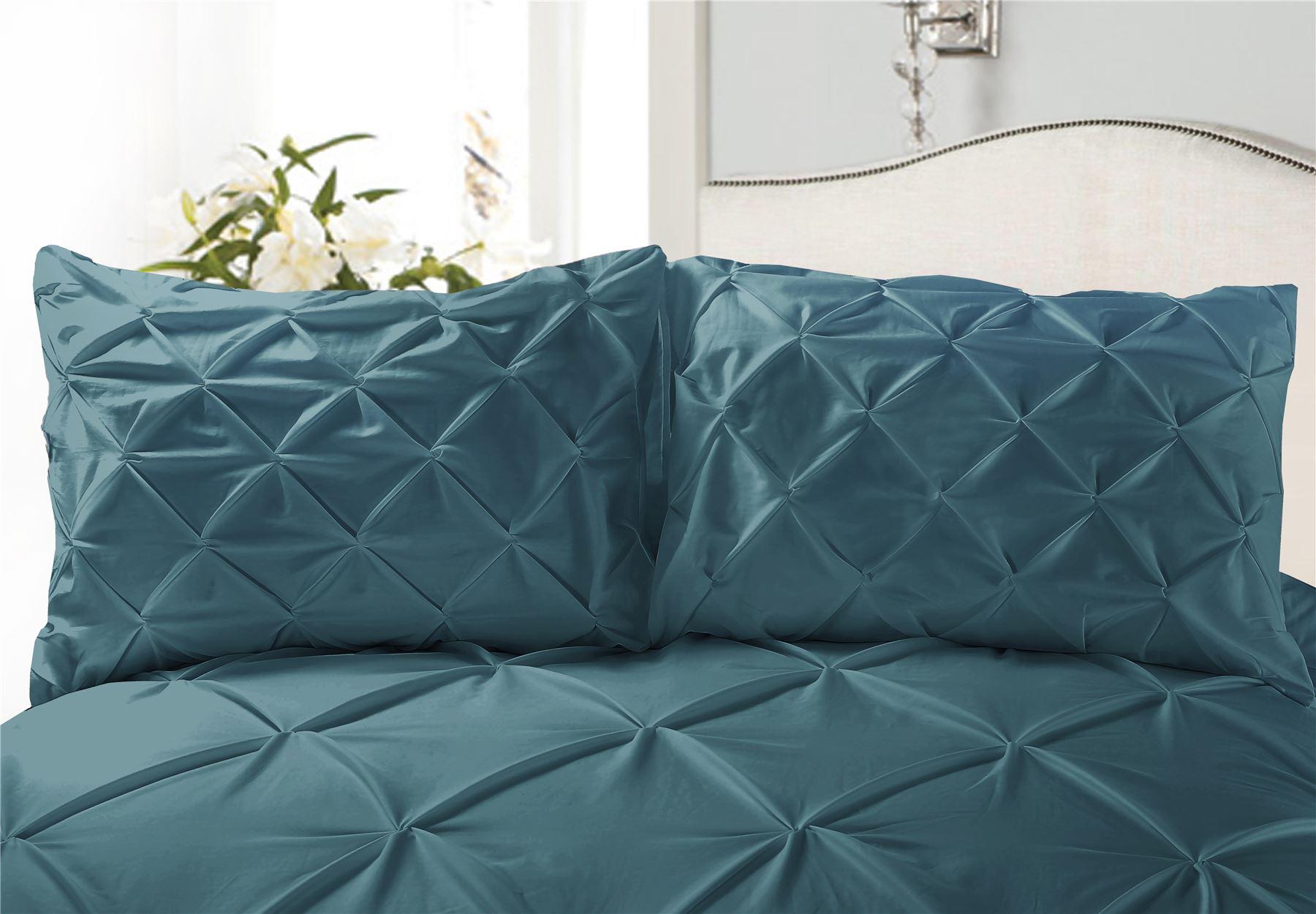 Luxury-Pure-100-Cotton-200-Thread-Pinch-Pleat-Pintuck-Puckering-Duvet-Cover-Set thumbnail 59