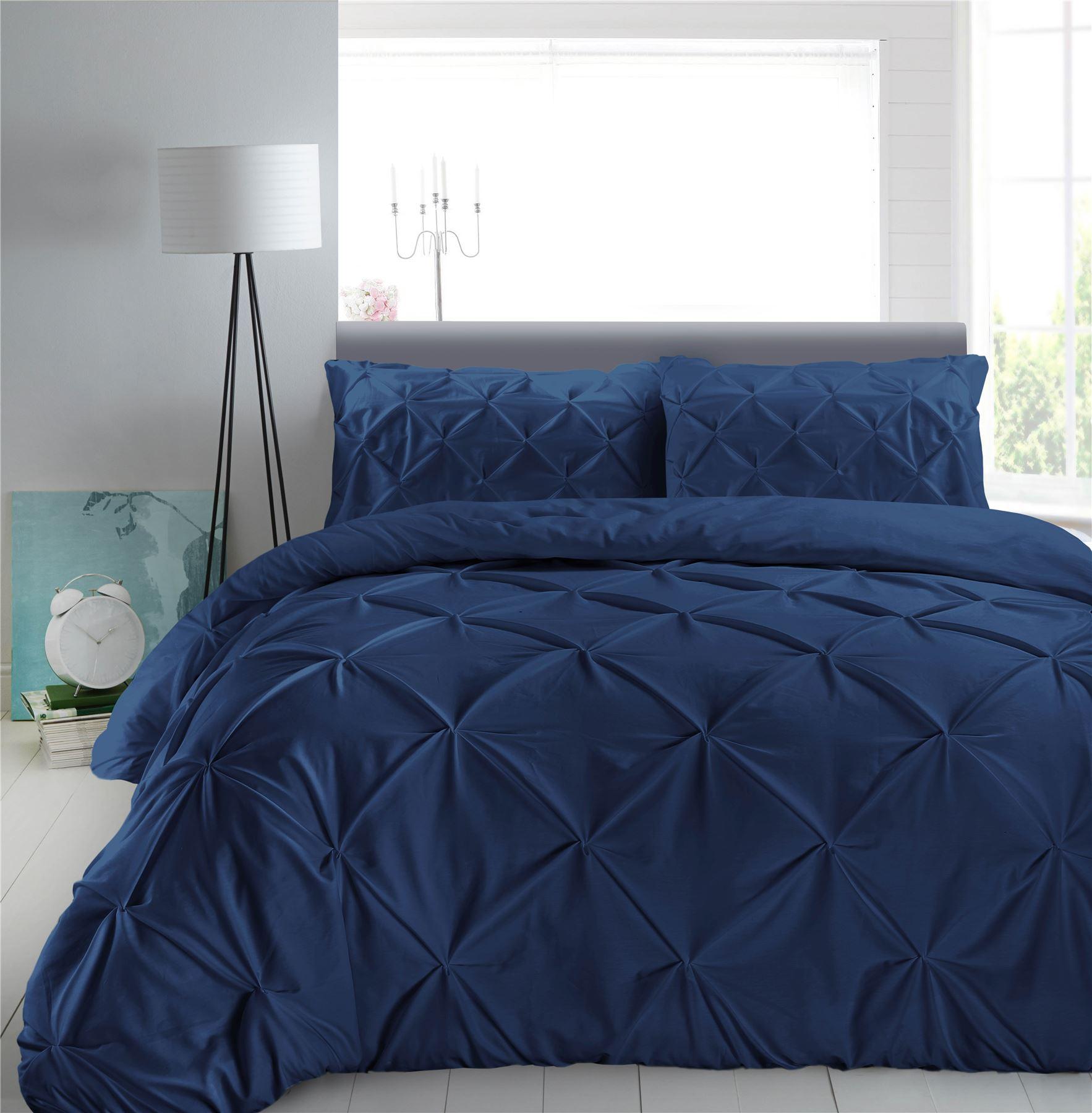 Luxury-Pure-100-Cotton-200-Thread-Pinch-Pleat-Pintuck-Puckering-Duvet-Cover-Set thumbnail 22