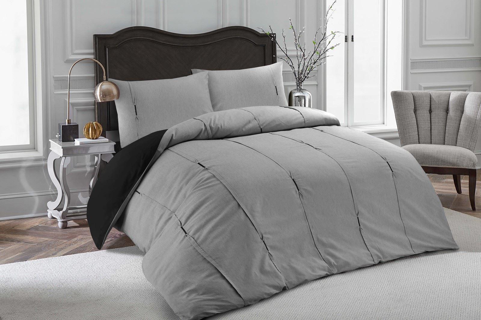 Luxe-Lambert-vertical-Pintuck-plissee-Soft-Couette-Parure-De-Lit-Gris-amp-Noir miniature 5