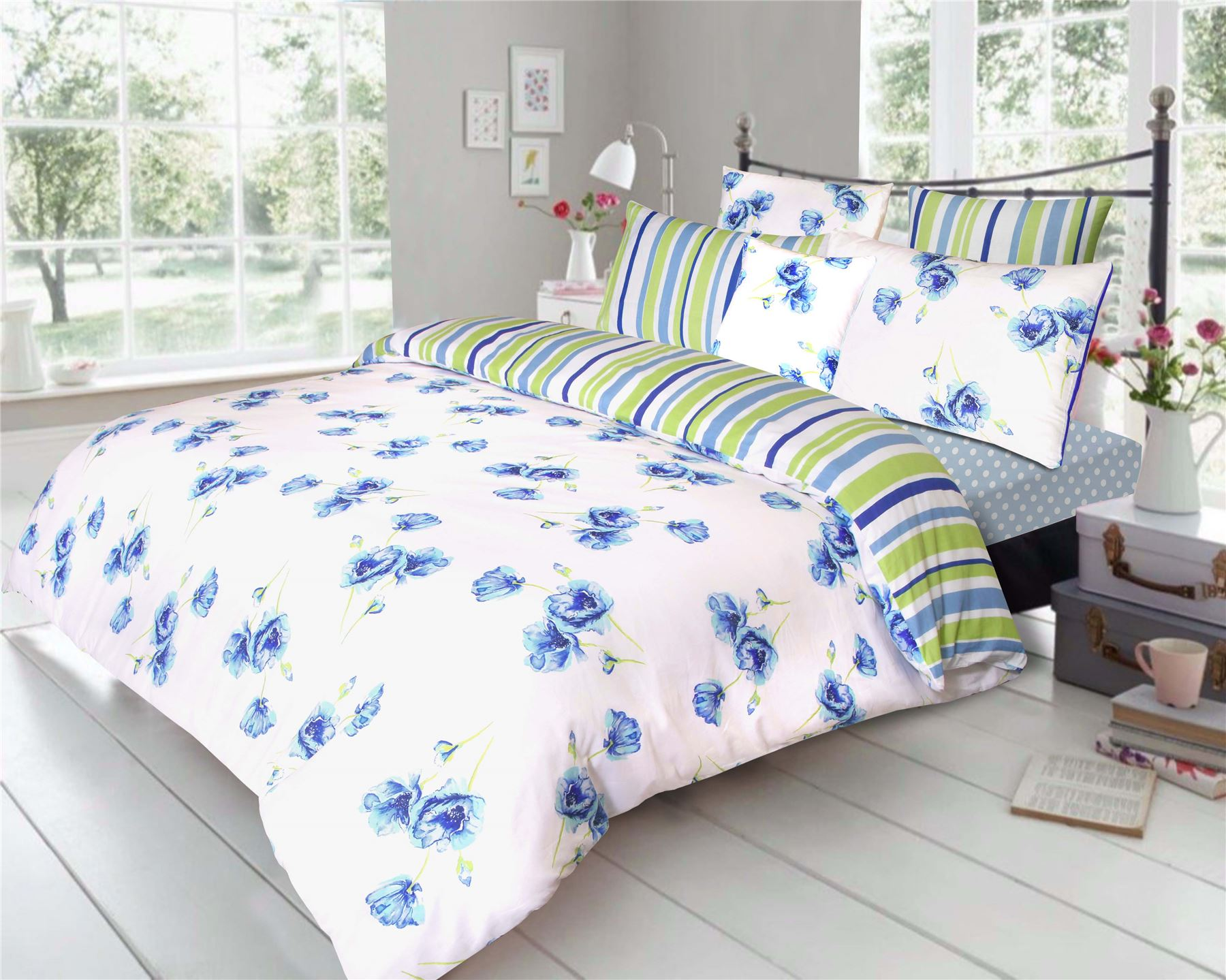 Poppy Floral 100 Cotton Quilt Duvet Cover Pillowcase Bedding Set Uk White Blue Ebay