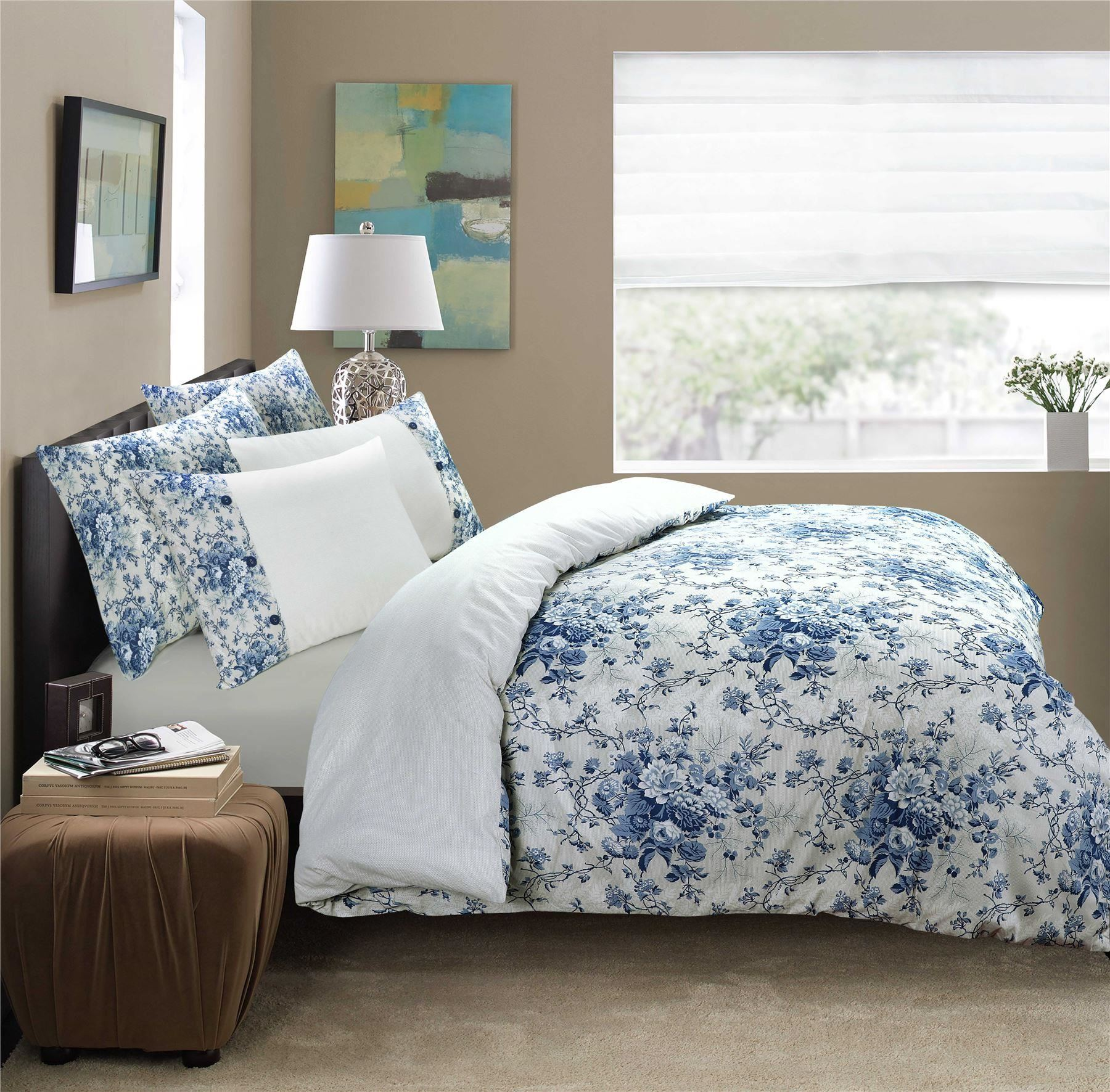100-Algodon-Cuidado-facil-cubierta-del-edredon-edredon-multicolor-nuevo-conjunto-de-ropa-de-cama miniatura 8