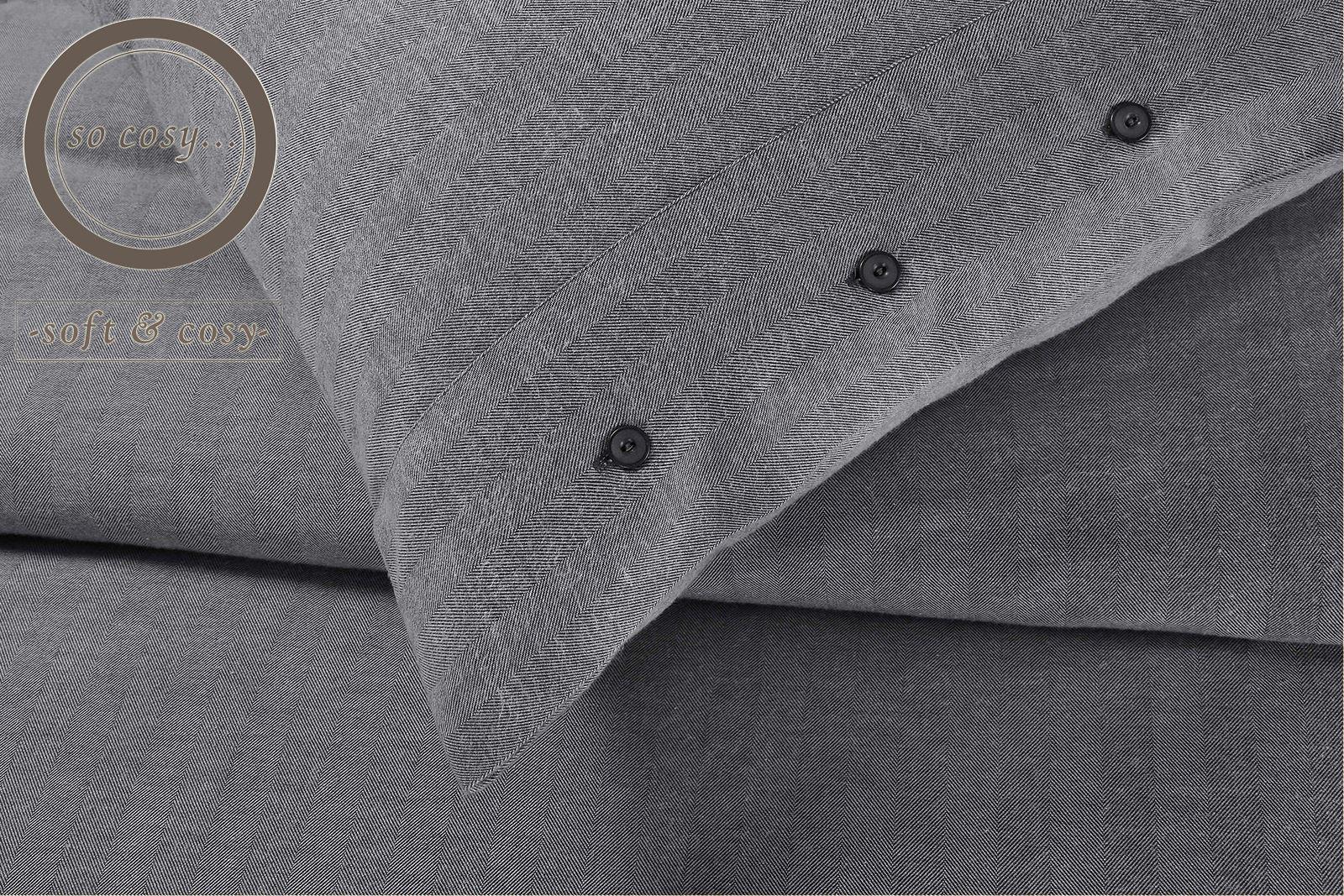 Herringbone-Tejido-Gris-100-Algodon-Cepillado-Franela-flanelita-duvet-cover-set miniatura 3
