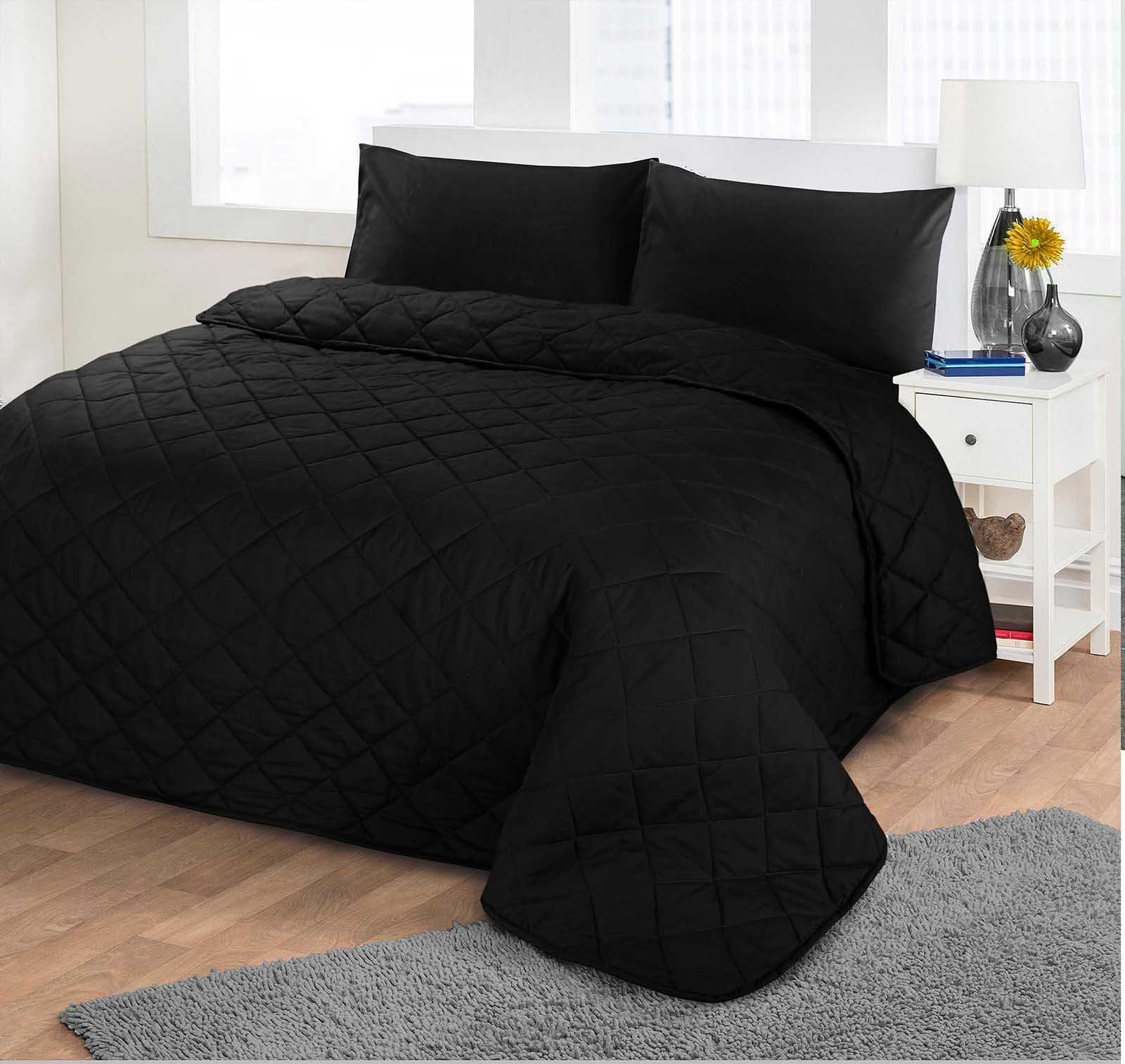 Luxurious Plain Colour Soft Quilted Embossed Bedspread