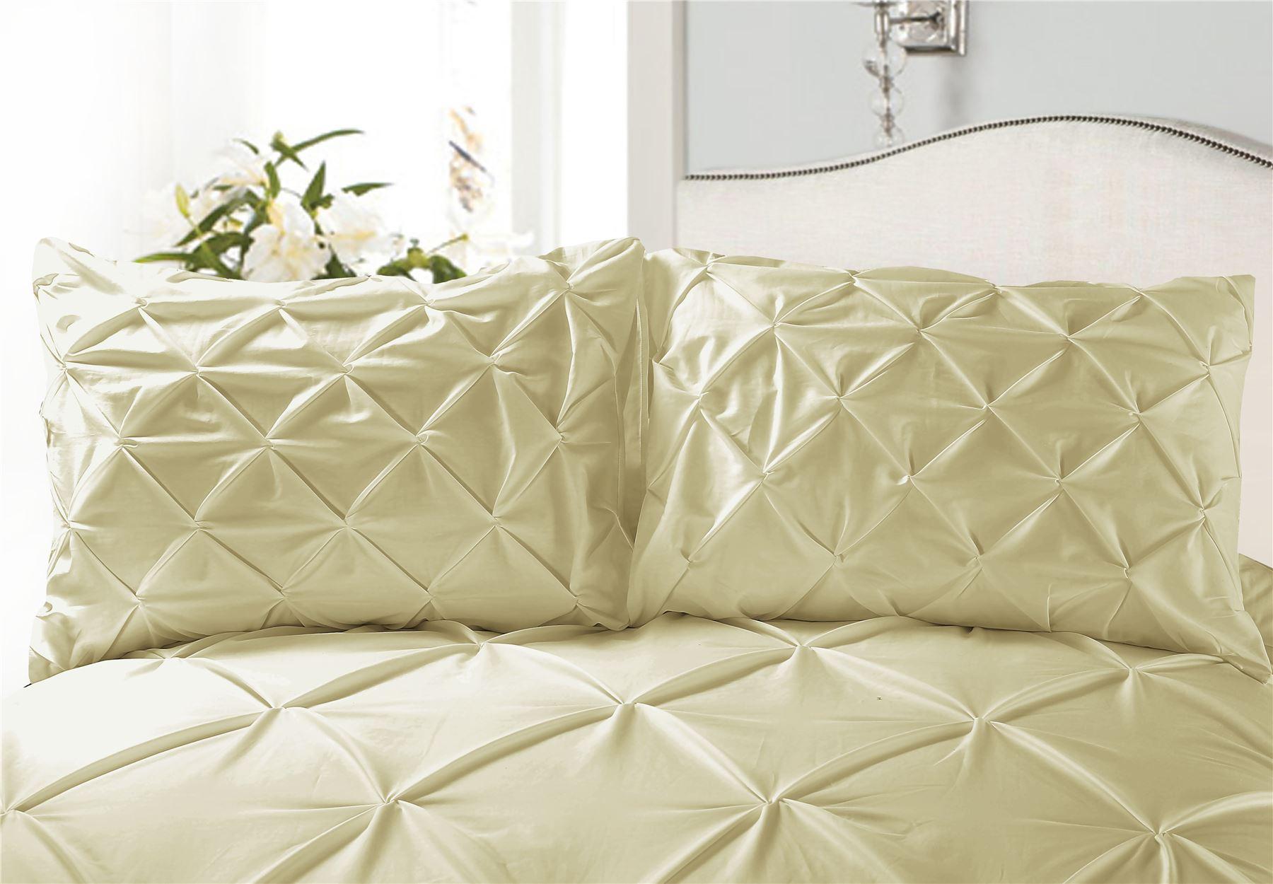 Luxury-Pure-100-Cotton-200-Thread-Pinch-Pleat-Pintuck-Puckering-Duvet-Cover-Set thumbnail 49