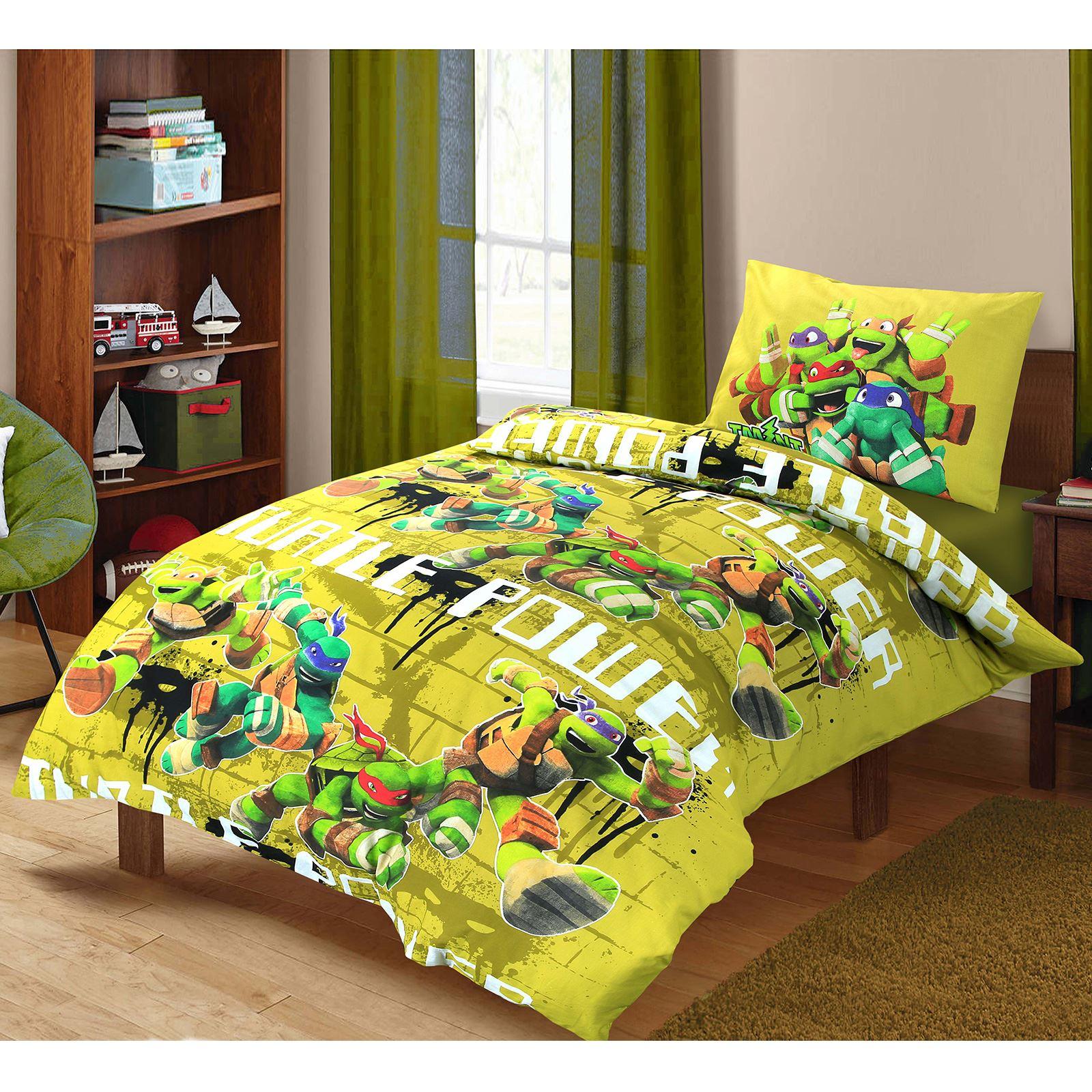Kids Children Ninja Turtles Power 100/% Cotton Duvet Cover Pillowcase Bedding Set