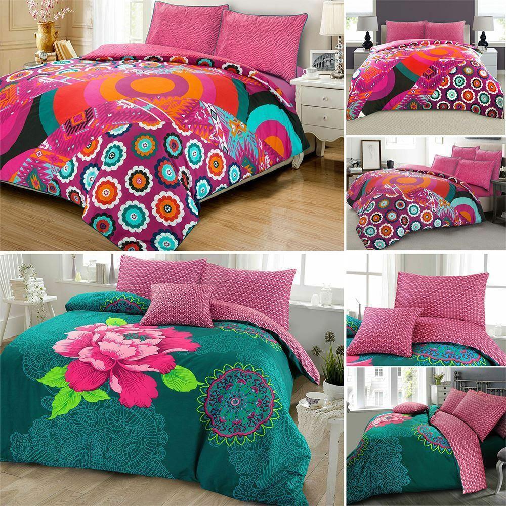 Ropa-de-cama-estampado-floral-bohemio-conjunto-de-edredon-de-funda-nordica-individual-Doble-King miniatura 10