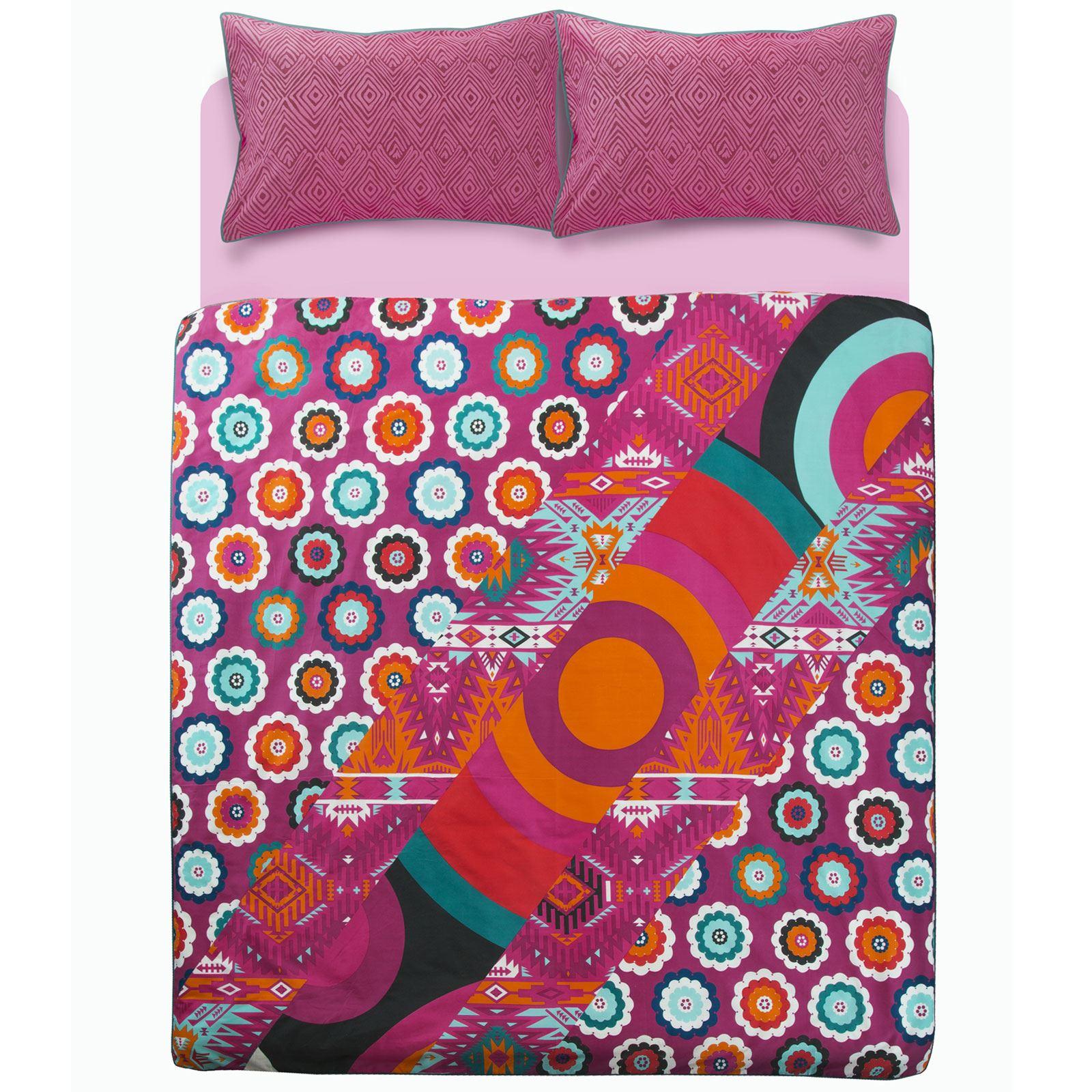 Ropa-de-cama-estampado-floral-bohemio-conjunto-de-edredon-de-funda-nordica-individual-Doble-King miniatura 7