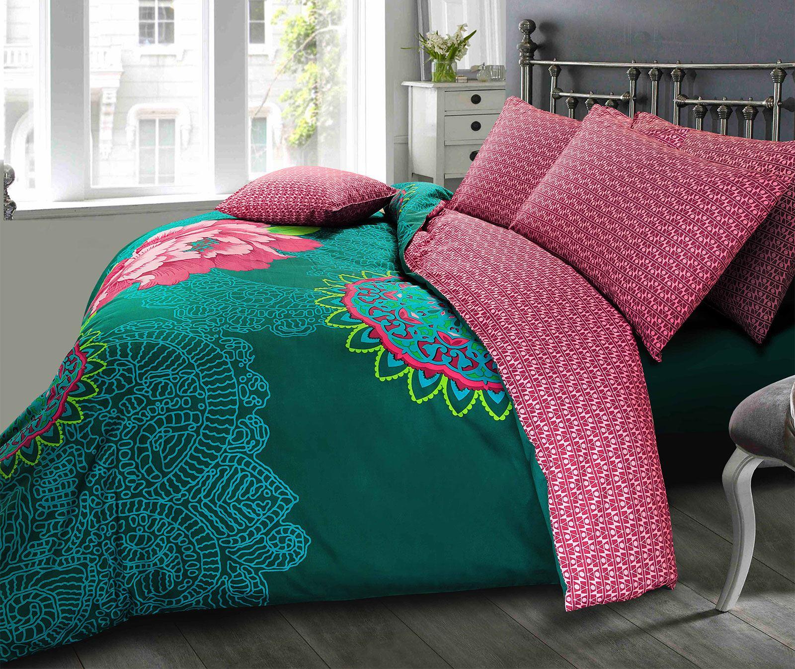Ropa-de-cama-estampado-floral-bohemio-conjunto-de-edredon-de-funda-nordica-individual-Doble-King miniatura 12
