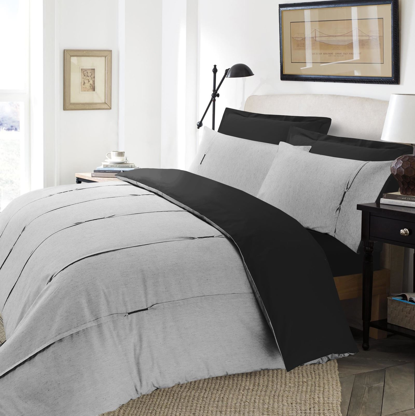 Luxe-Lambert-vertical-Pintuck-plissee-Soft-Couette-Parure-De-Lit-Gris-amp-Noir miniature 3