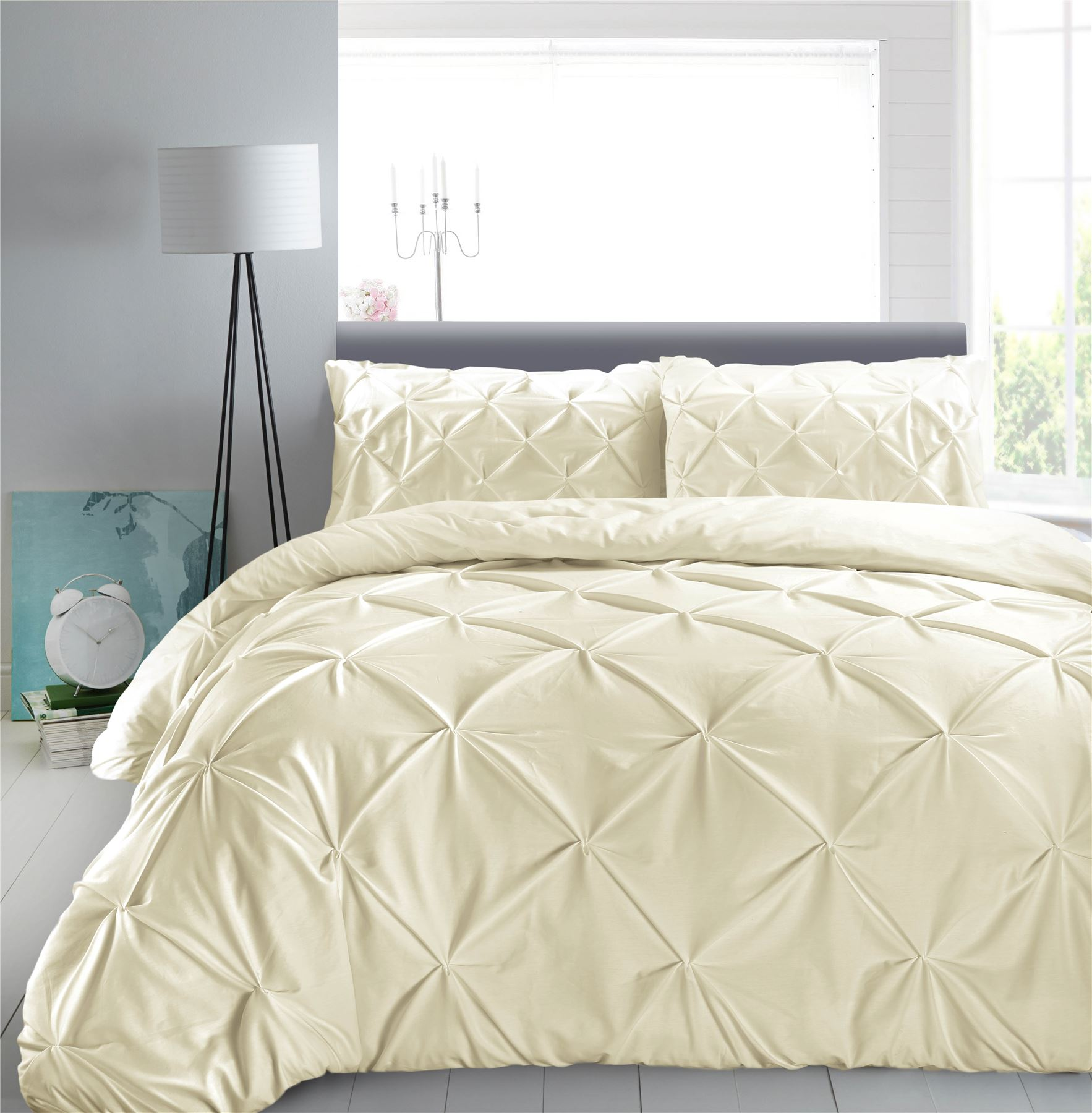 Luxury-Pure-100-Cotton-200-Thread-Pinch-Pleat-Pintuck-Puckering-Duvet-Cover-Set thumbnail 12