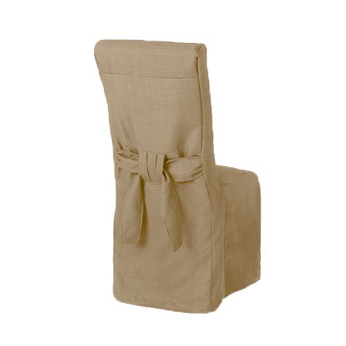 1 X Sand Linen Fabric Dining Chair Covers For Scroll Top High Back Leather Ebay