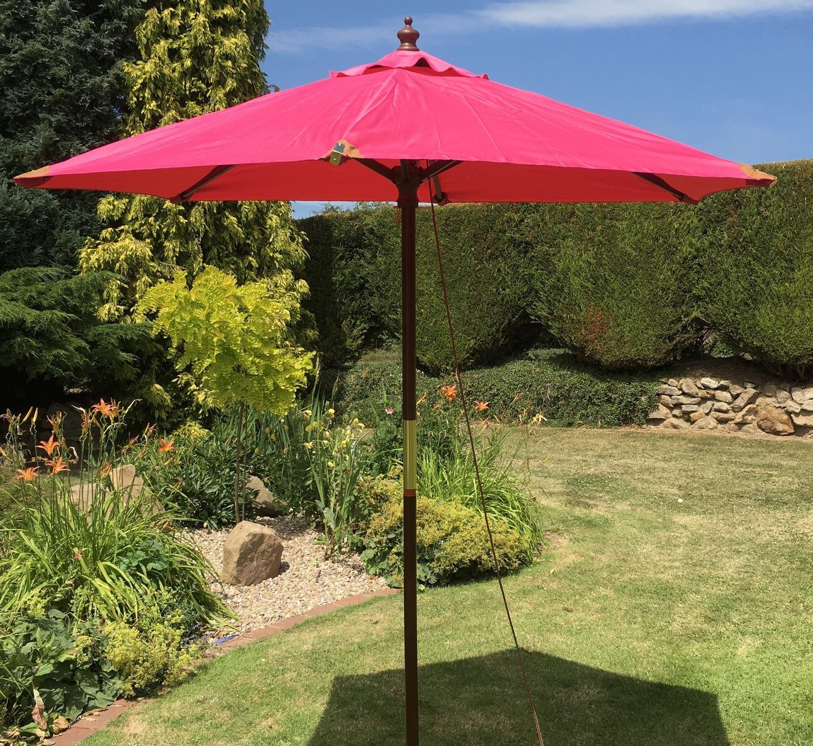 large hardwood wooden garden parasol umbrella 10 colours. Black Bedroom Furniture Sets. Home Design Ideas