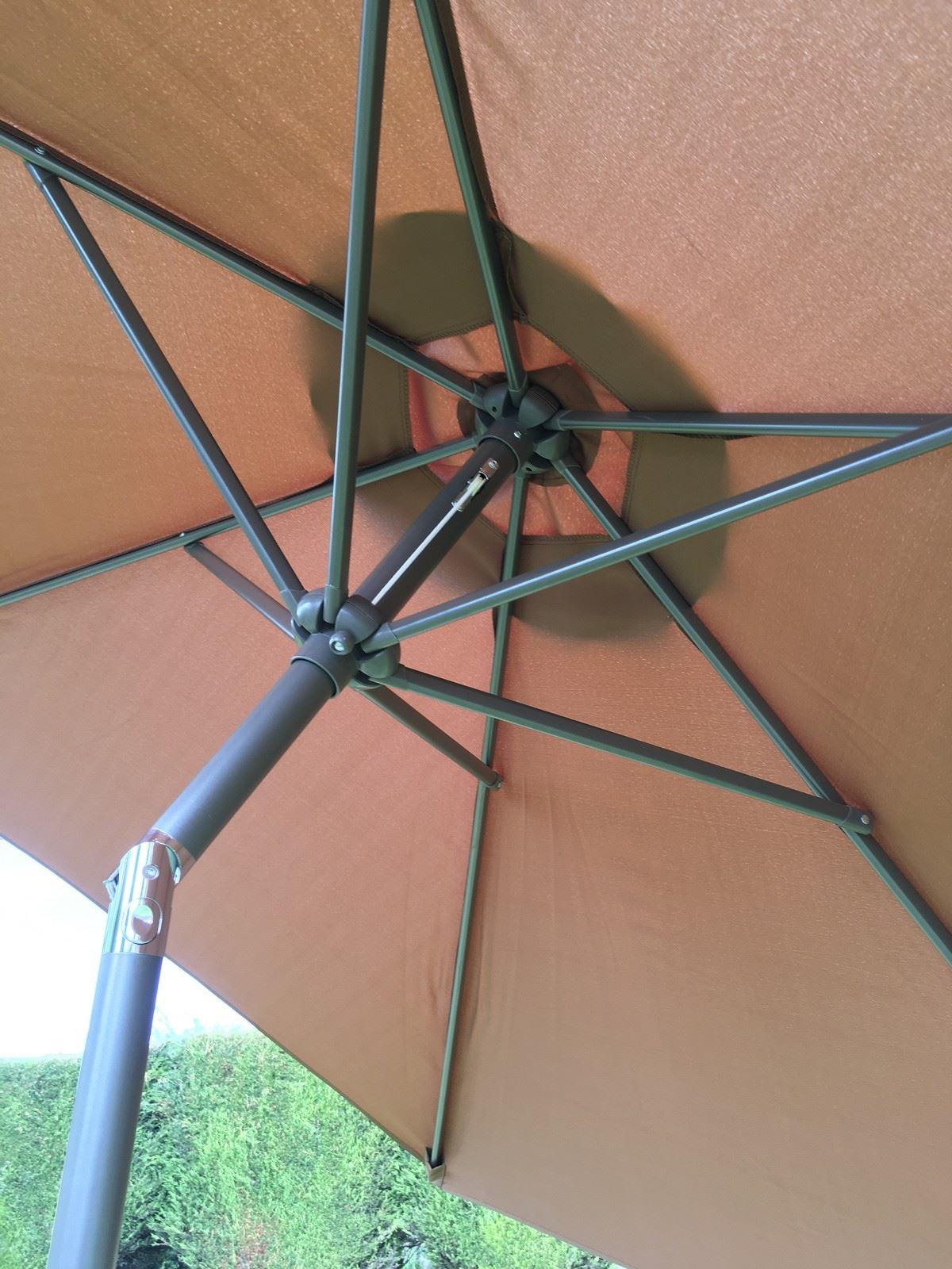 Large Metal Garden Parasol Umbrella Crank and Tilt 10 Colours 2.7m ...