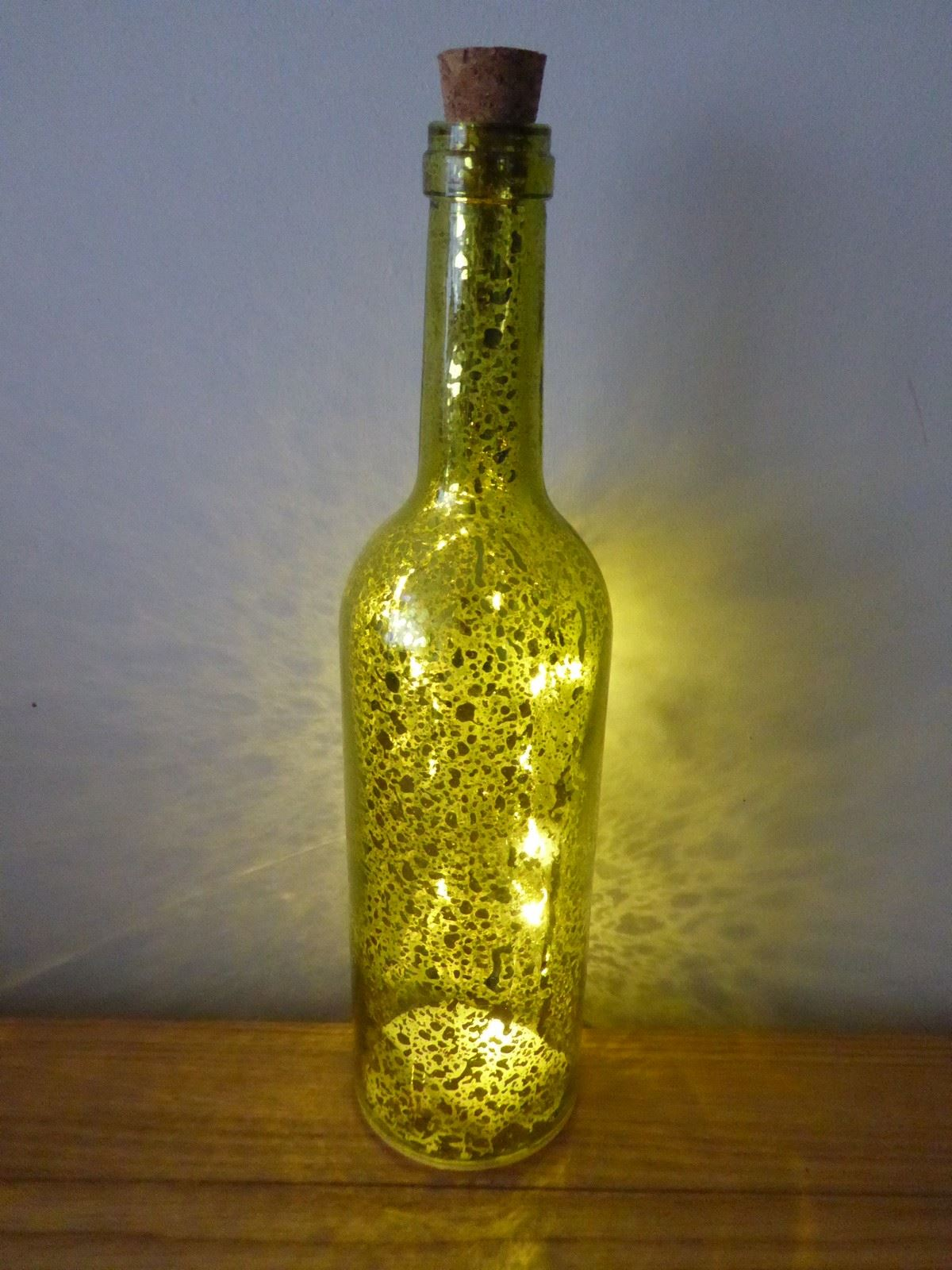 Battery operated led metallic wine bottle indoor christmas for Wine bottle decoration with lights