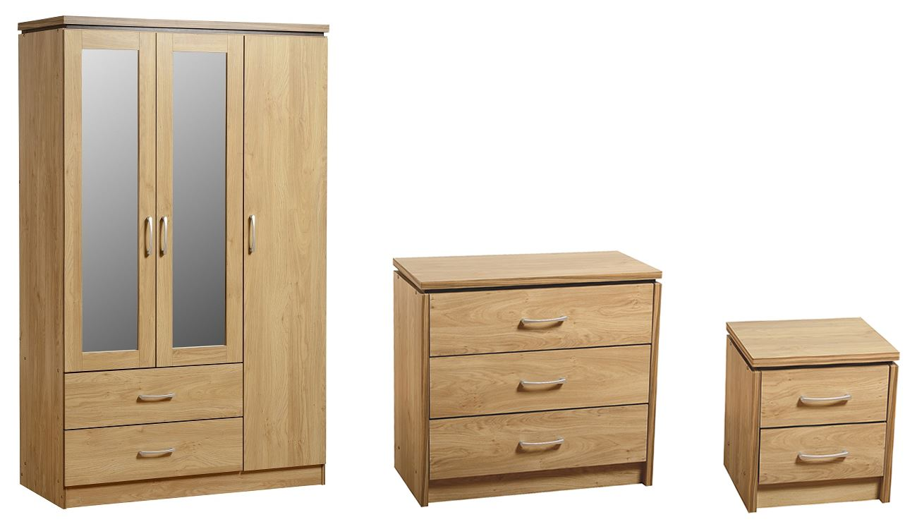 Oak White Walnut Bedroom Set Full Wardrobe Mirrored Wardobe Bedside Drawers Ebay
