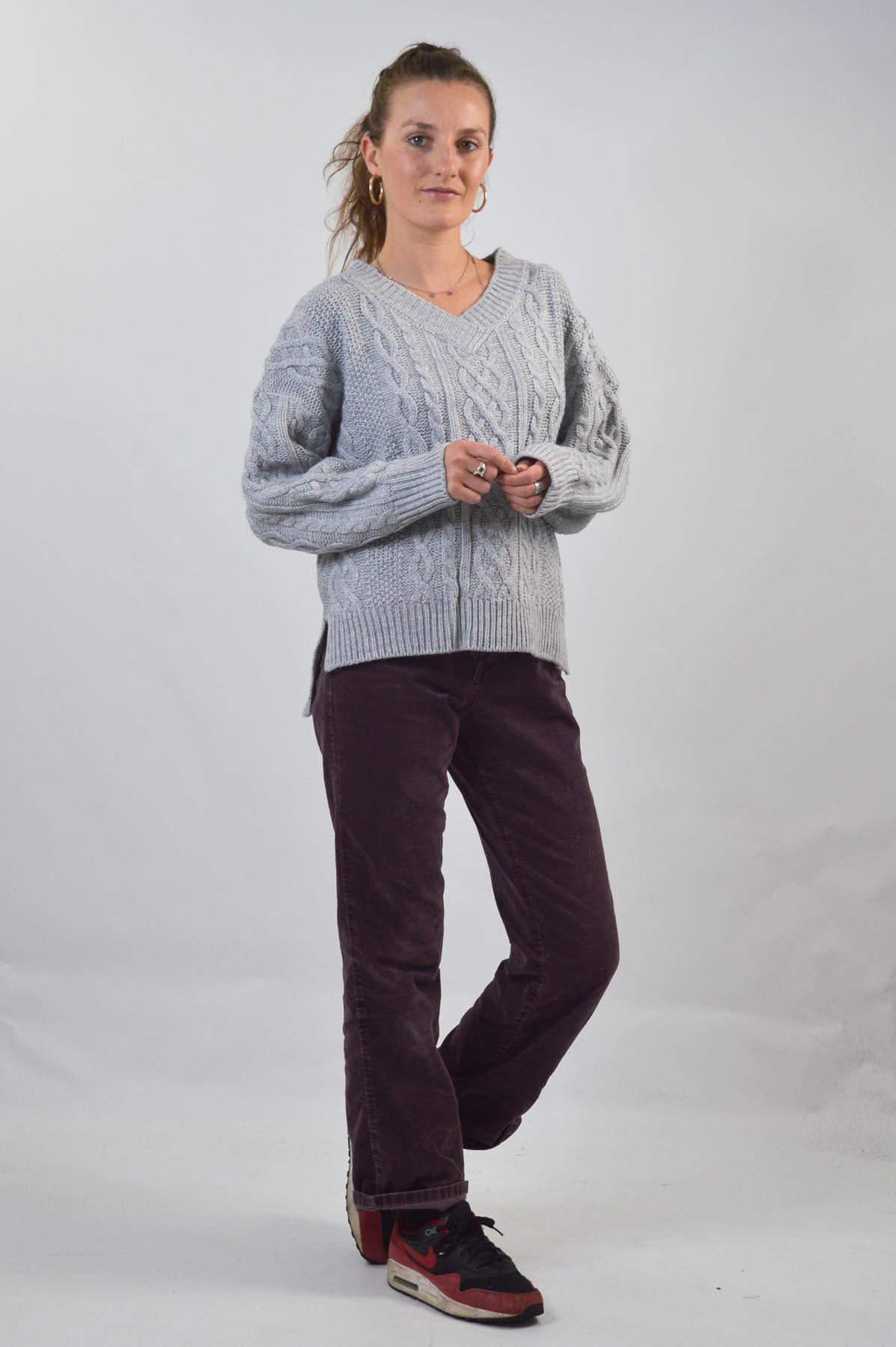 TOPSHOP-Womens-V-Neck-Chunky-Cable-Knit-Jumper-Side-Split-Hem-RRP-36 thumbnail 19