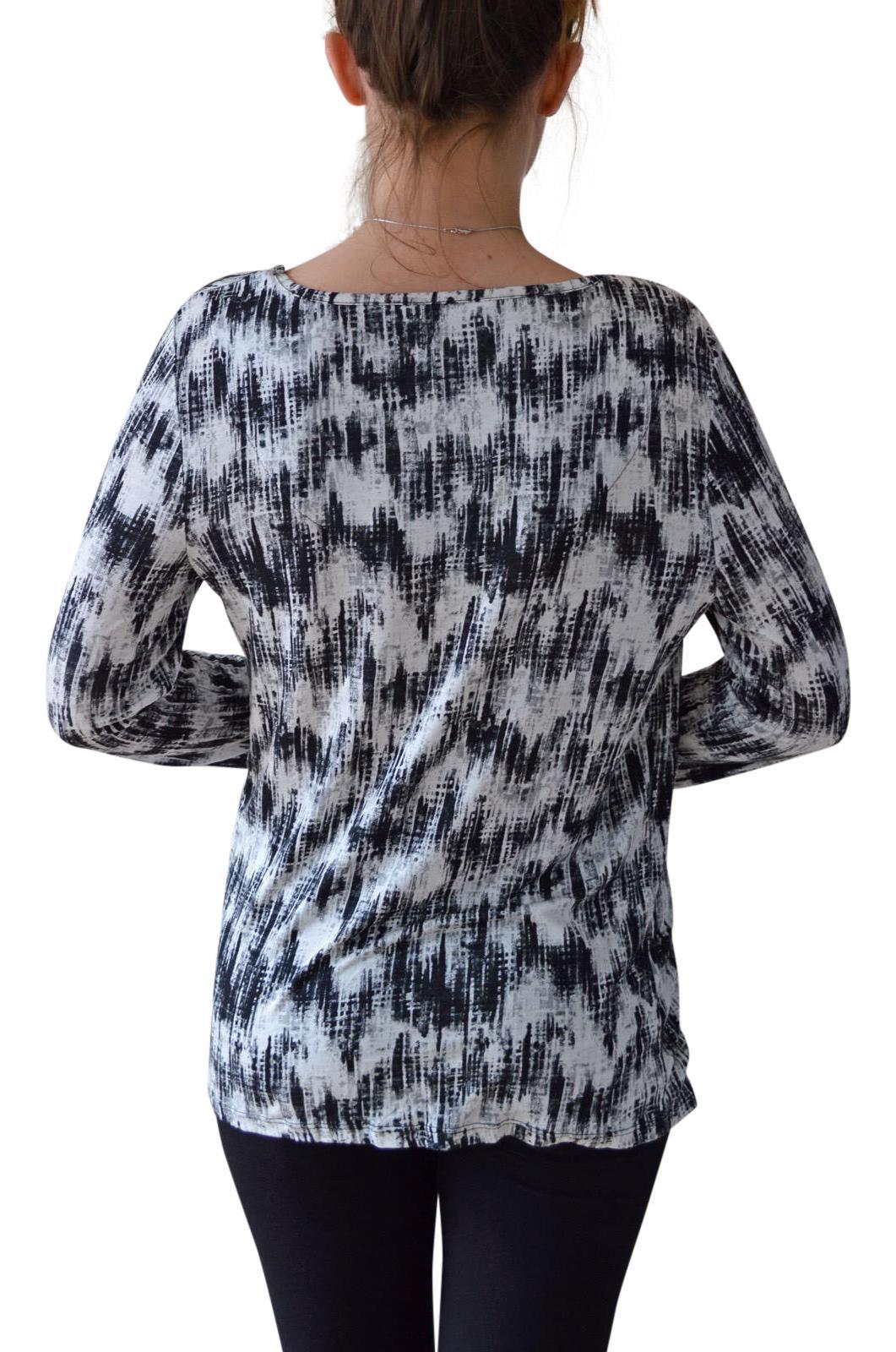 Black White Brush Stroke Print Stretch Wrap Top RRP £25