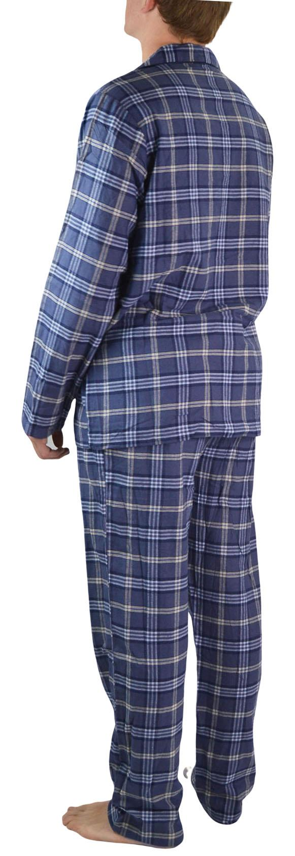 NEW-Mens-Brushed-Pure-Cotton-Check-Pyjamas-Flannelette-PJ-Set-in-Blue-Red-Grey thumbnail 5