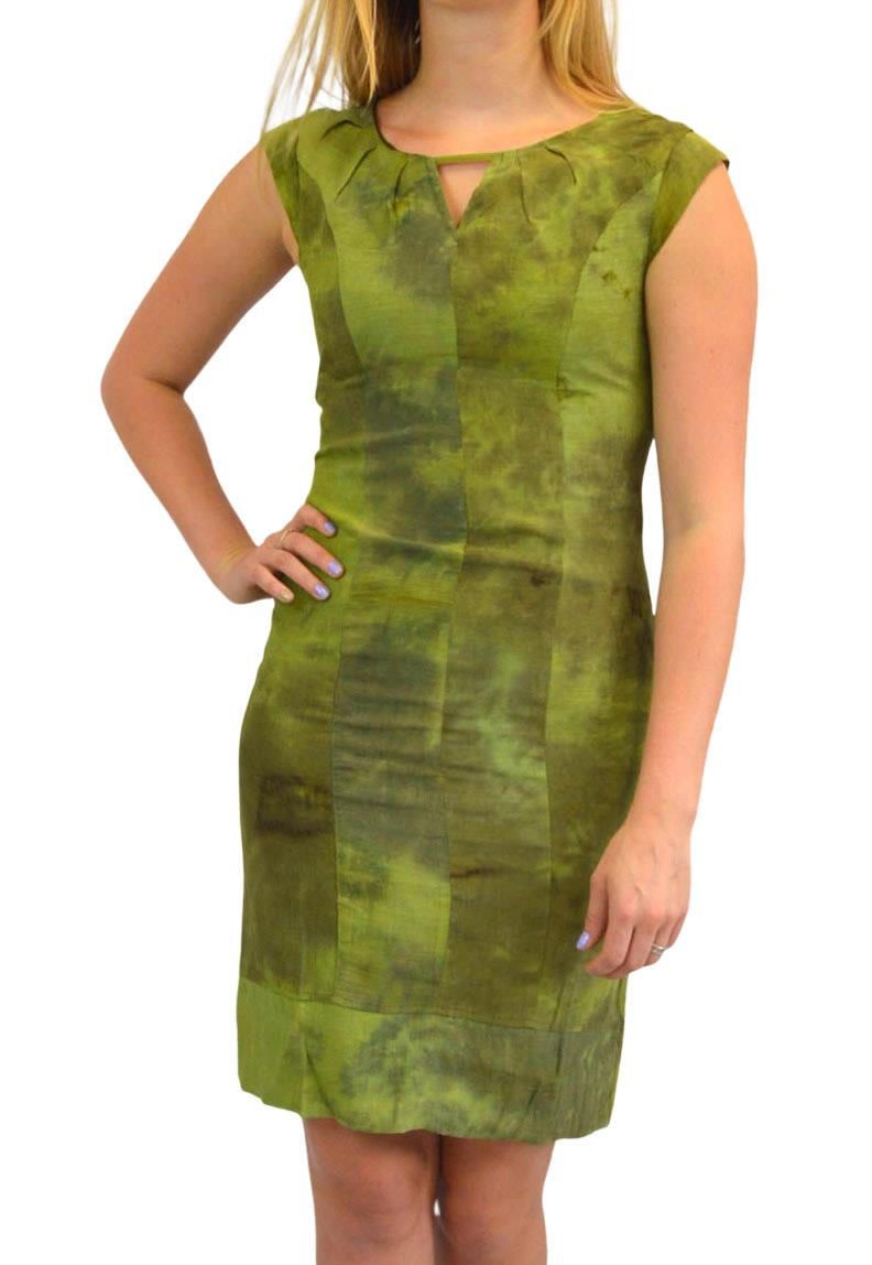 Sleeveless-Office-Silk-Shift-Dress-Work-Green-or-Purple-Size-8-10-12-16 thumbnail 8