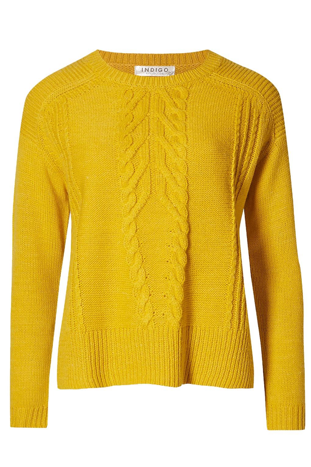 M/&S Ochre Yellow Womens Plus Size Cable Knit Jumper Side Splits RRP £30