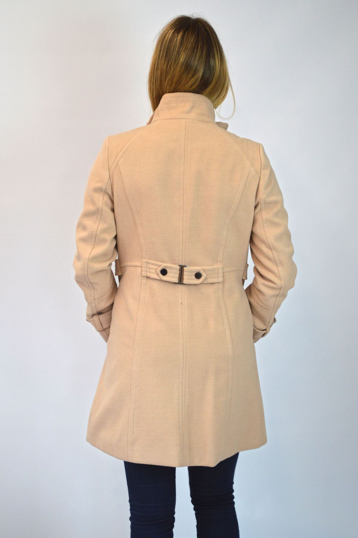 NEW-Ex-Wallis-Funnel-Neck-Button-Down-Winter-Coat-in-Beige-or-Black-Size-8-16 thumbnail 7