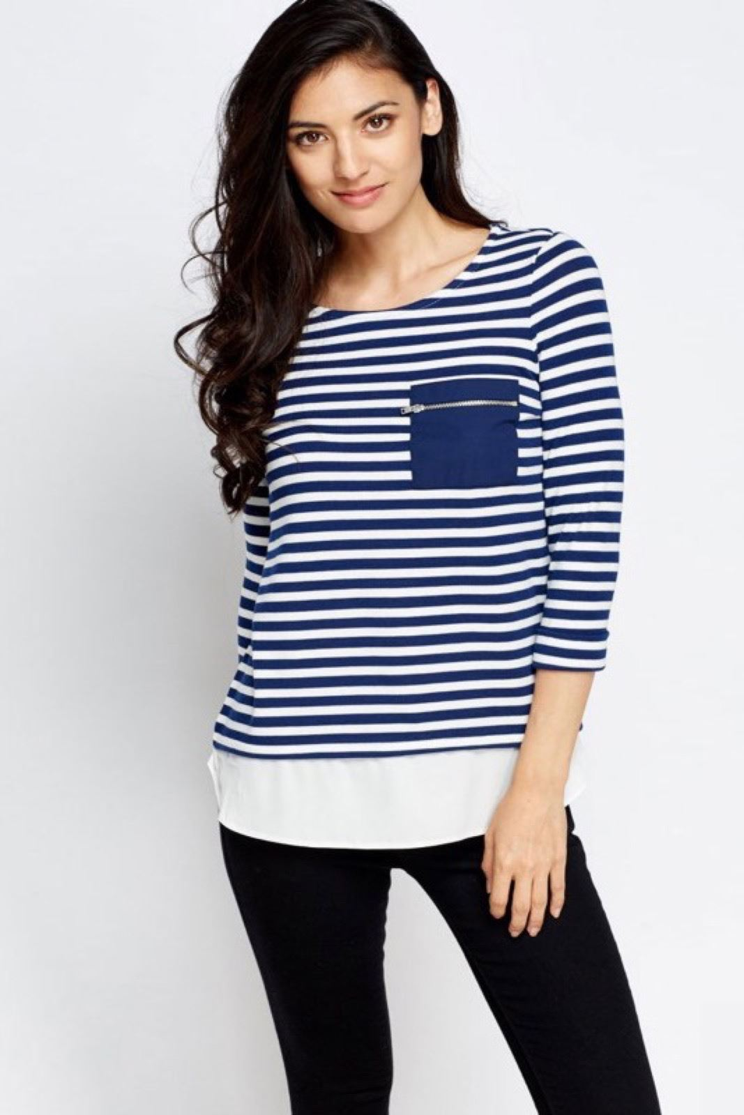 NEW-Ex-Dorothy-Perkins-Stripe-Jersey-Henley-Top-Mock-Layered-Tunic-Size-8-18 thumbnail 9
