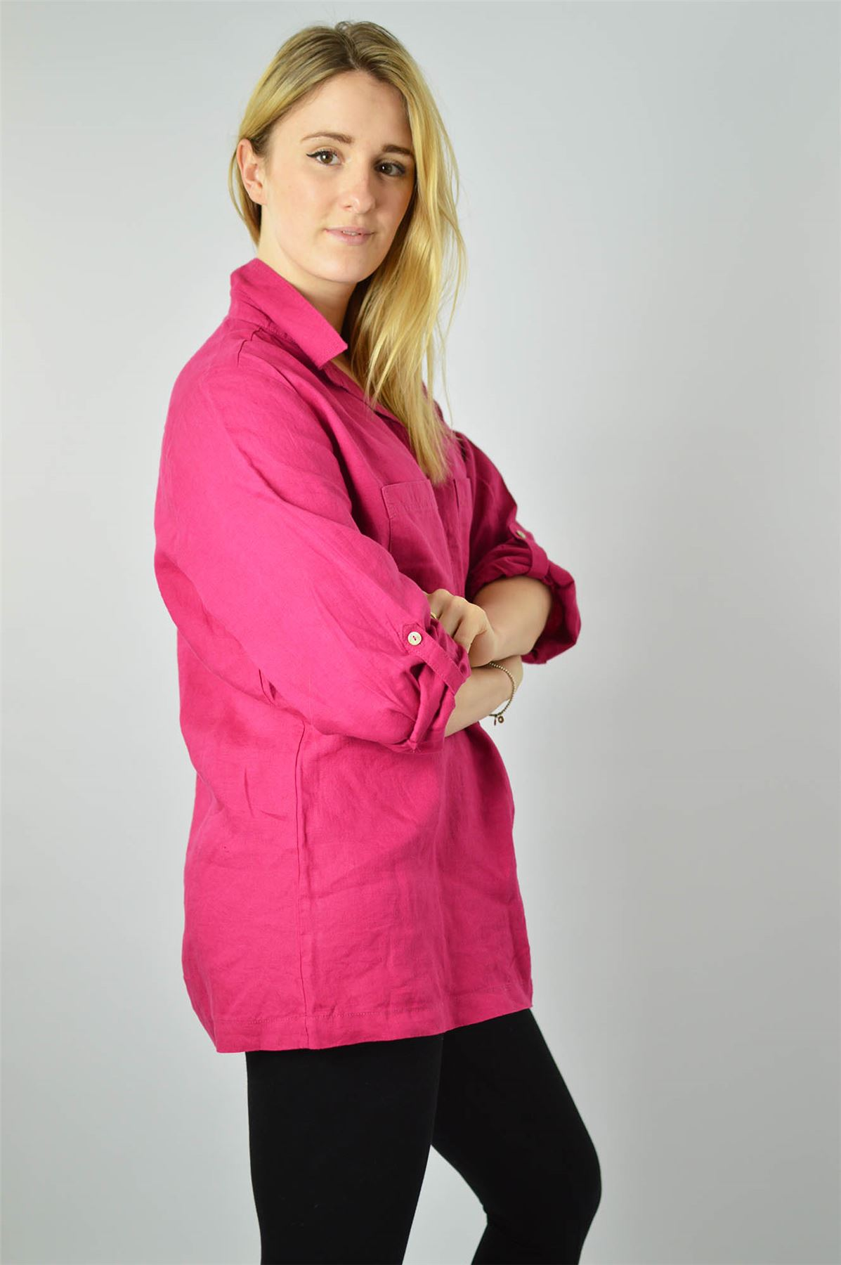 YESSICA-Linen-Blouse-Shirt-in-Pink-or-Ivory-RRP-25 thumbnail 13