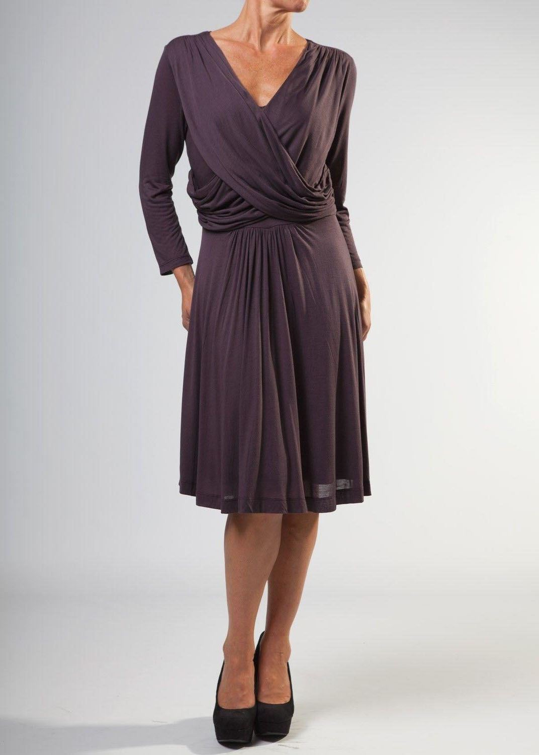 Ex-French-Connection-Wrap-Dress-Jersey-Stretch-Long-Sleeve-Skater-Dress-Size-XS thumbnail 10