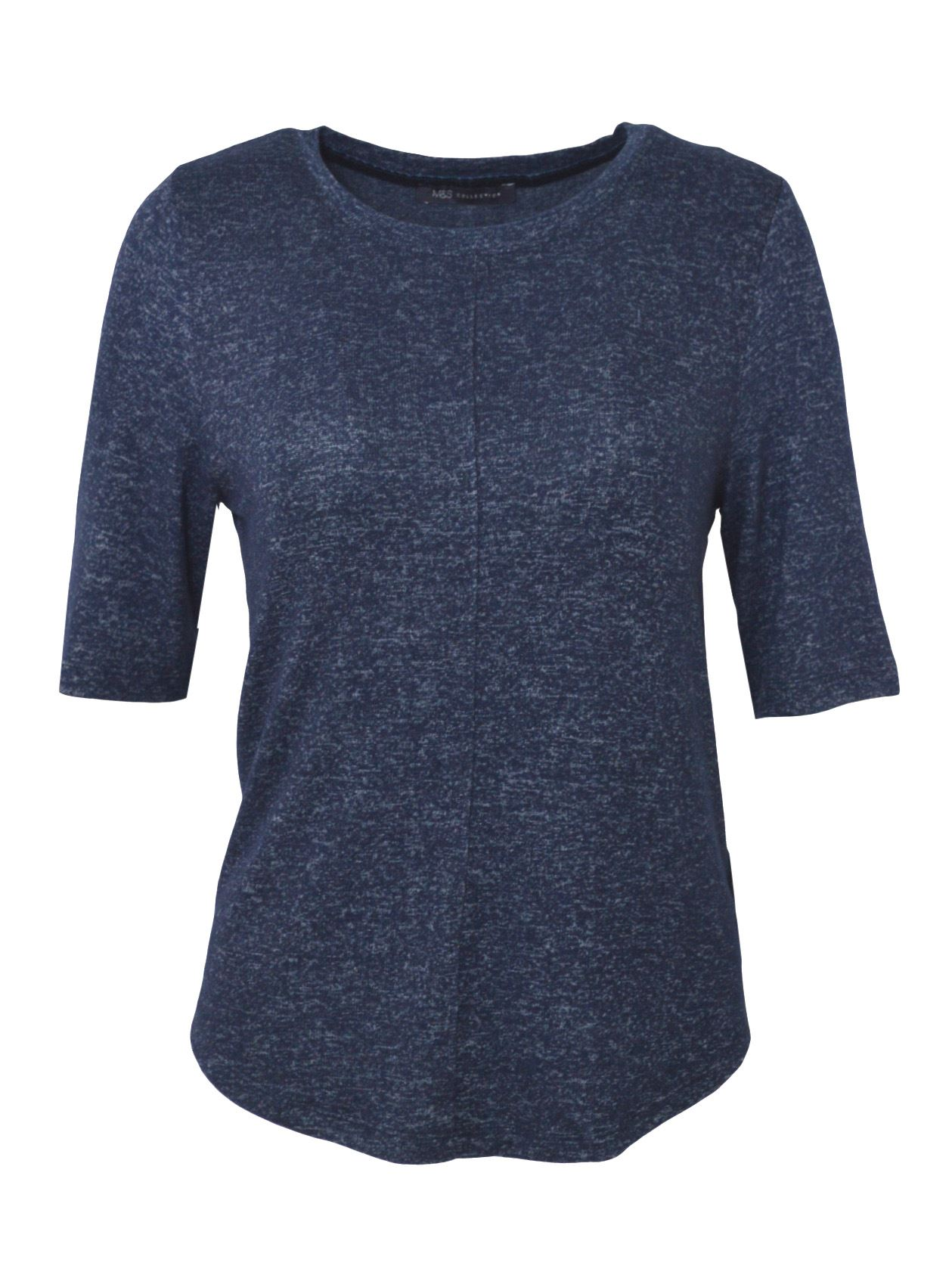 MARKS-AND-SPENCER-M-amp-S-Soft-Knit-Scoop-Neck-Top-Curved-Hem-Pale-Pink-Dark-Navy thumbnail 6