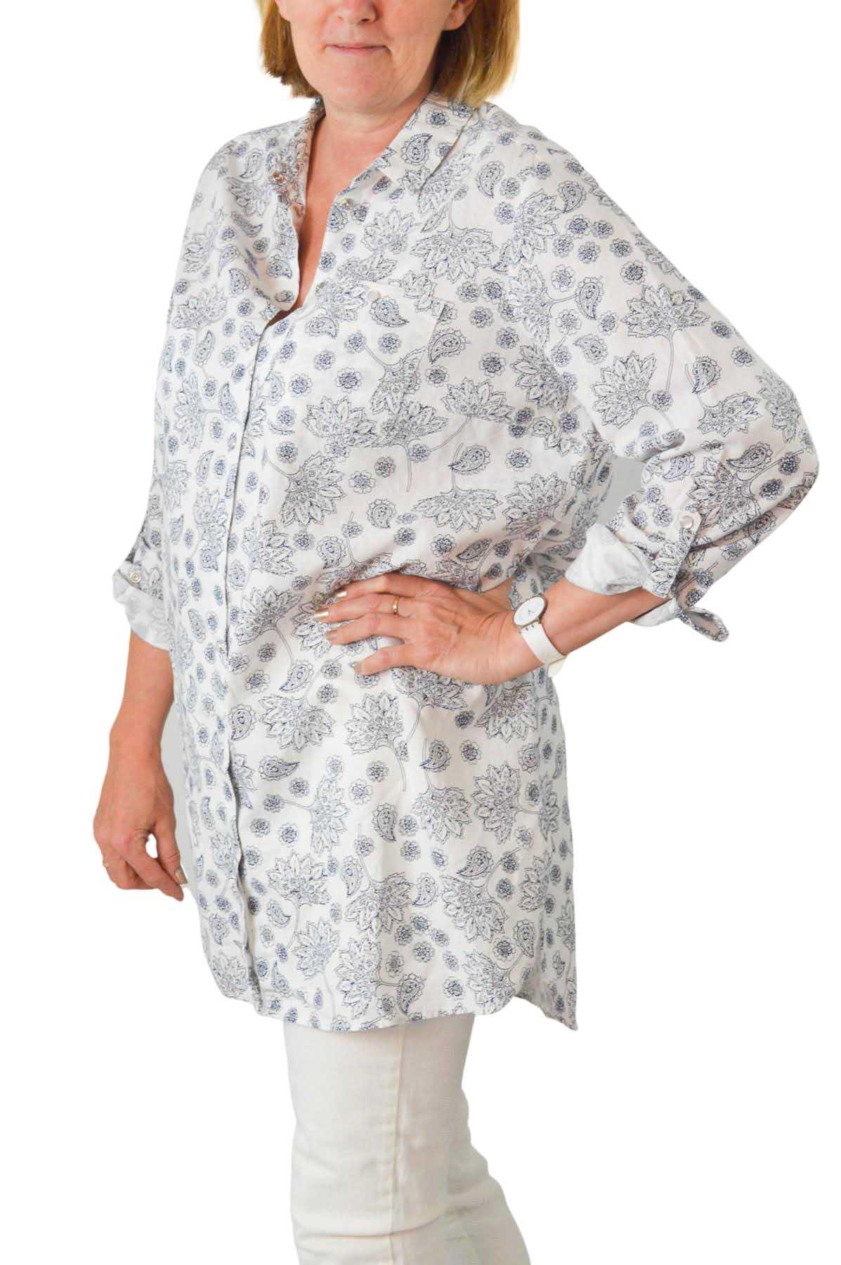 NEW-Ex-C-amp-A-Ladies-Navy-Ivory-Floral-Long-Linen-Shirt-Curved-Hem-Size-16-34 thumbnail 13