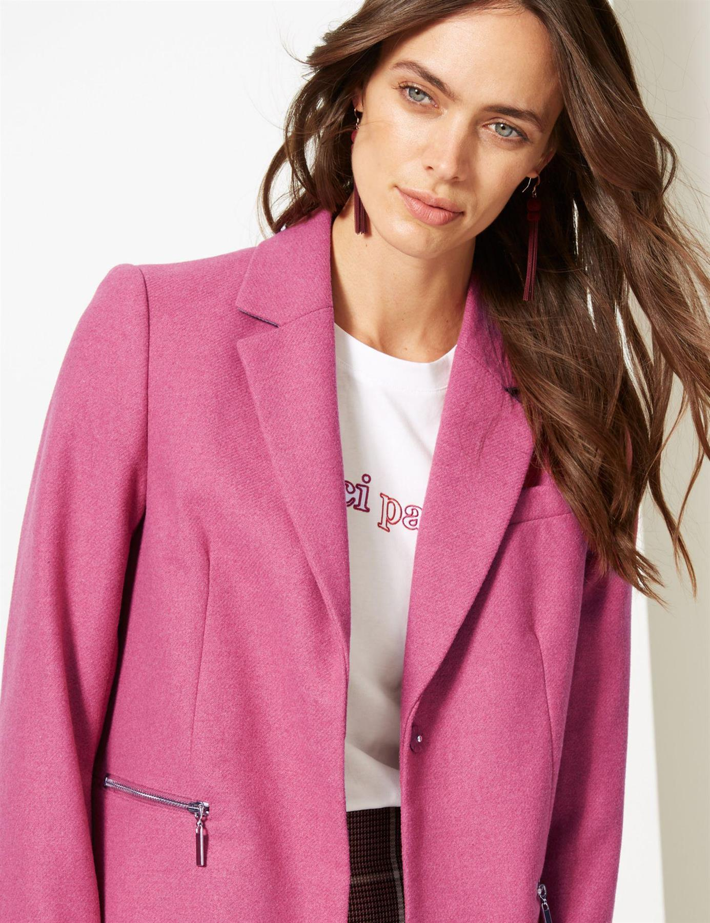 Marks-and-Spencer-Ladies-Size-20-M-amp-S-Pink-Wool-Blend-Coat-Womens thumbnail 17