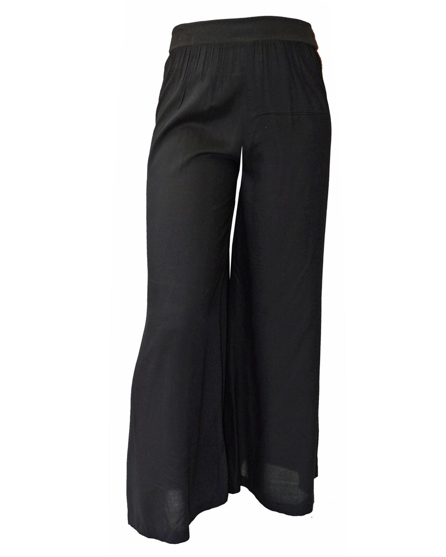 BHS Soft Silky Wide Leg Drapey Trousers Elastic Waist Green Black Purple Blue